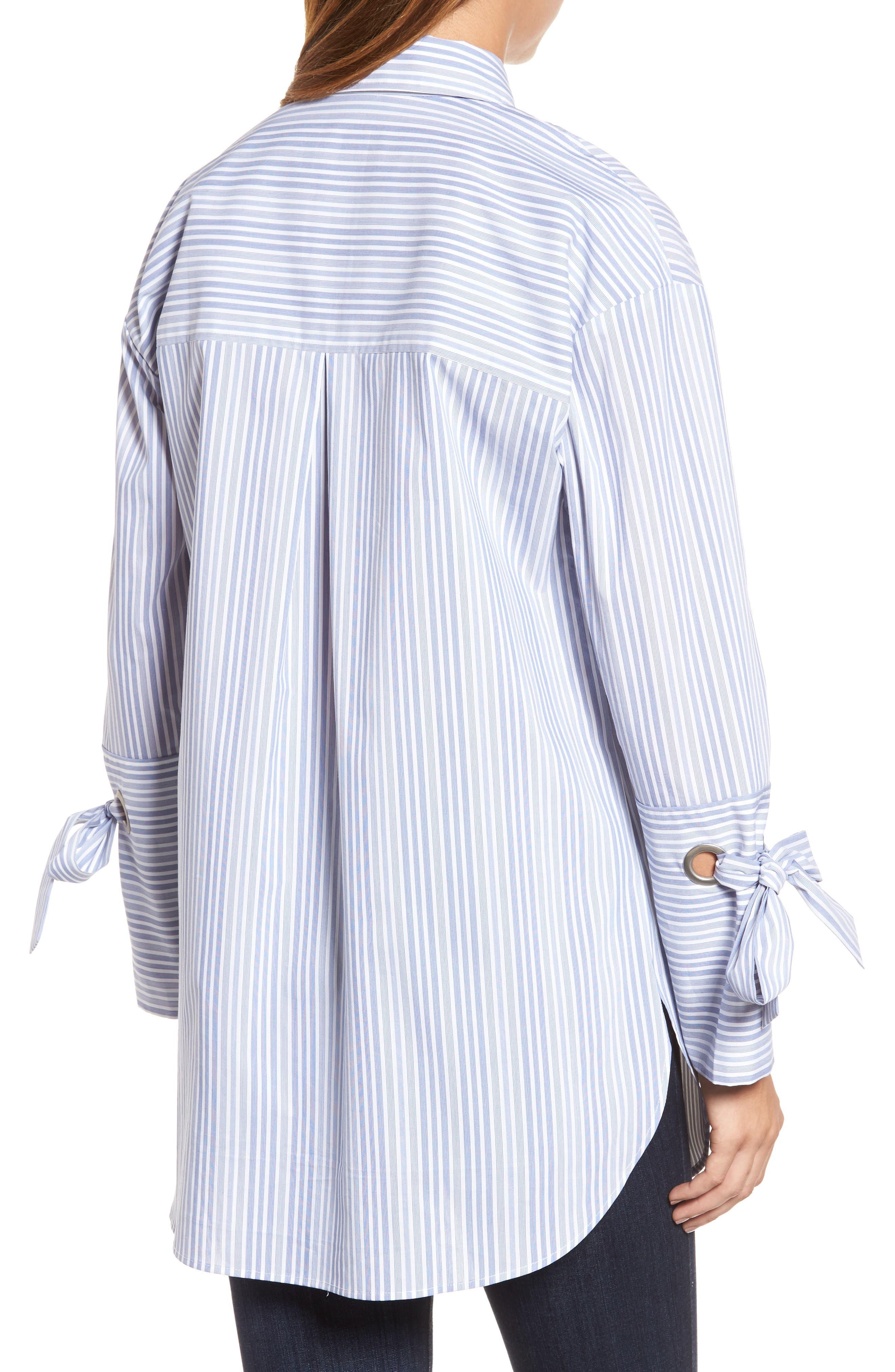 Pocket Detail Stripe Tunic Top,                             Alternate thumbnail 2, color,                             Blue- White Stripe