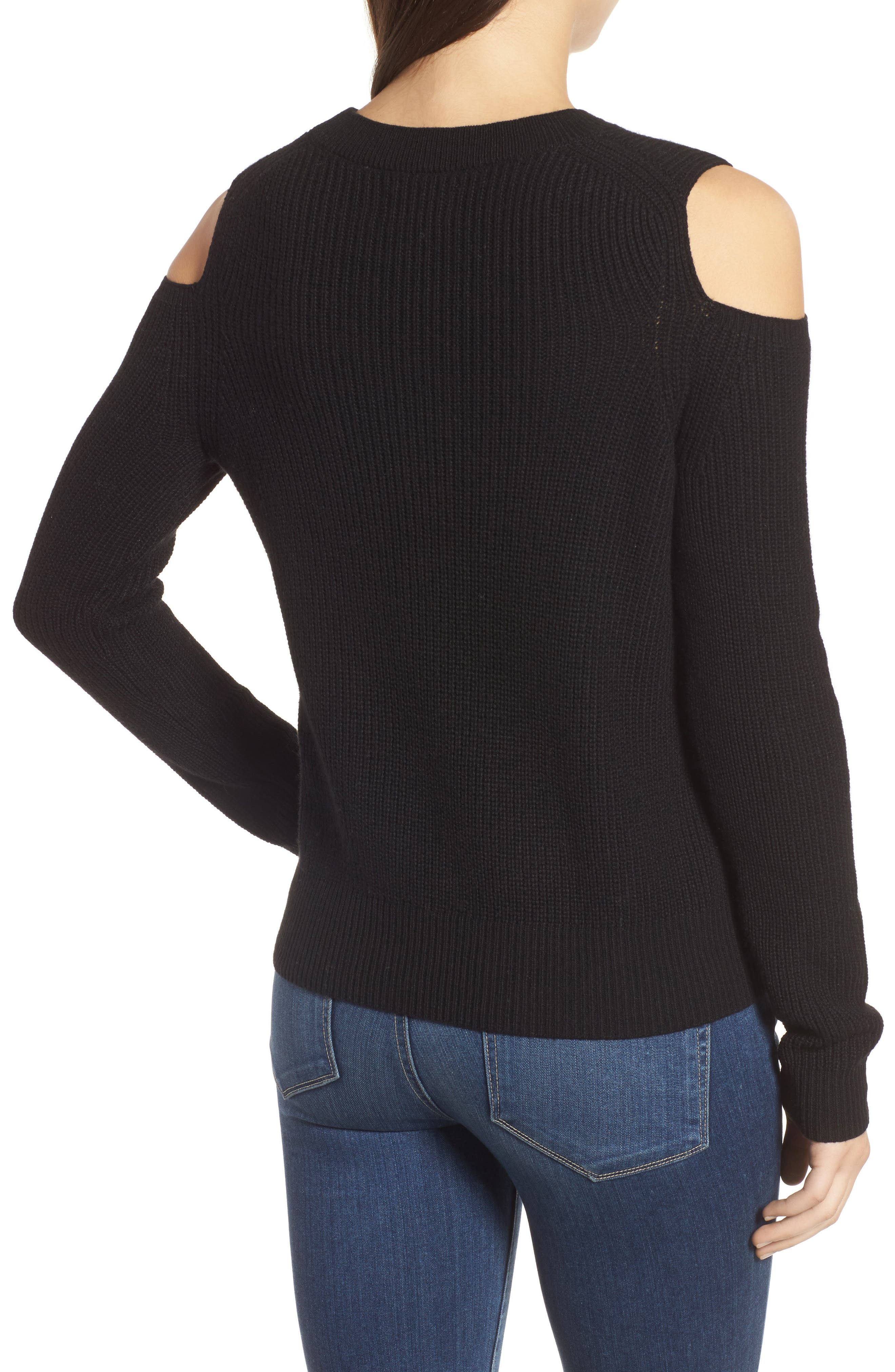Cold Shoulder Pullover,                             Alternate thumbnail 2, color,                             Lucky Black
