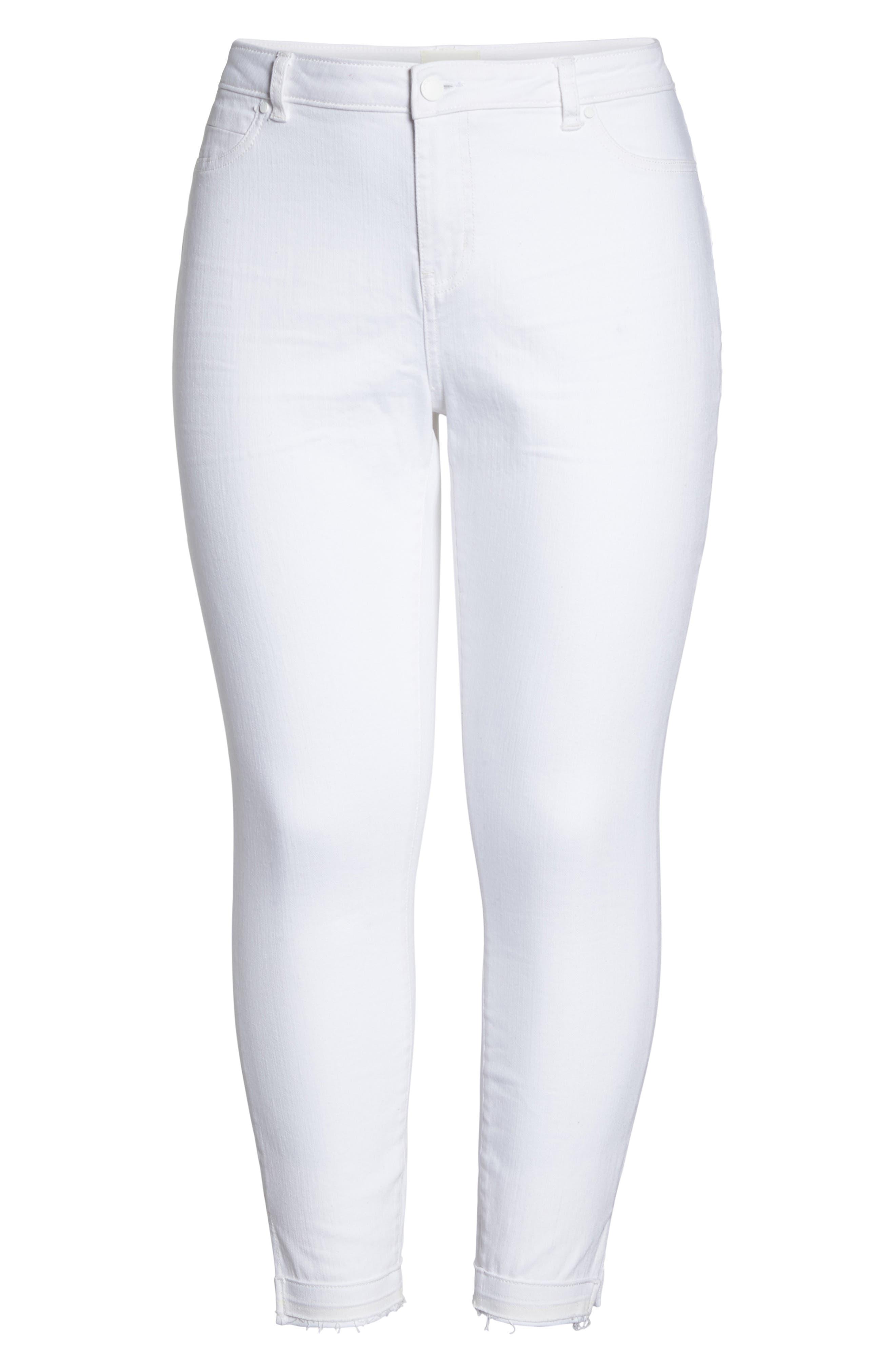 Release Hem Skinny Jeans,                             Alternate thumbnail 7, color,                             White