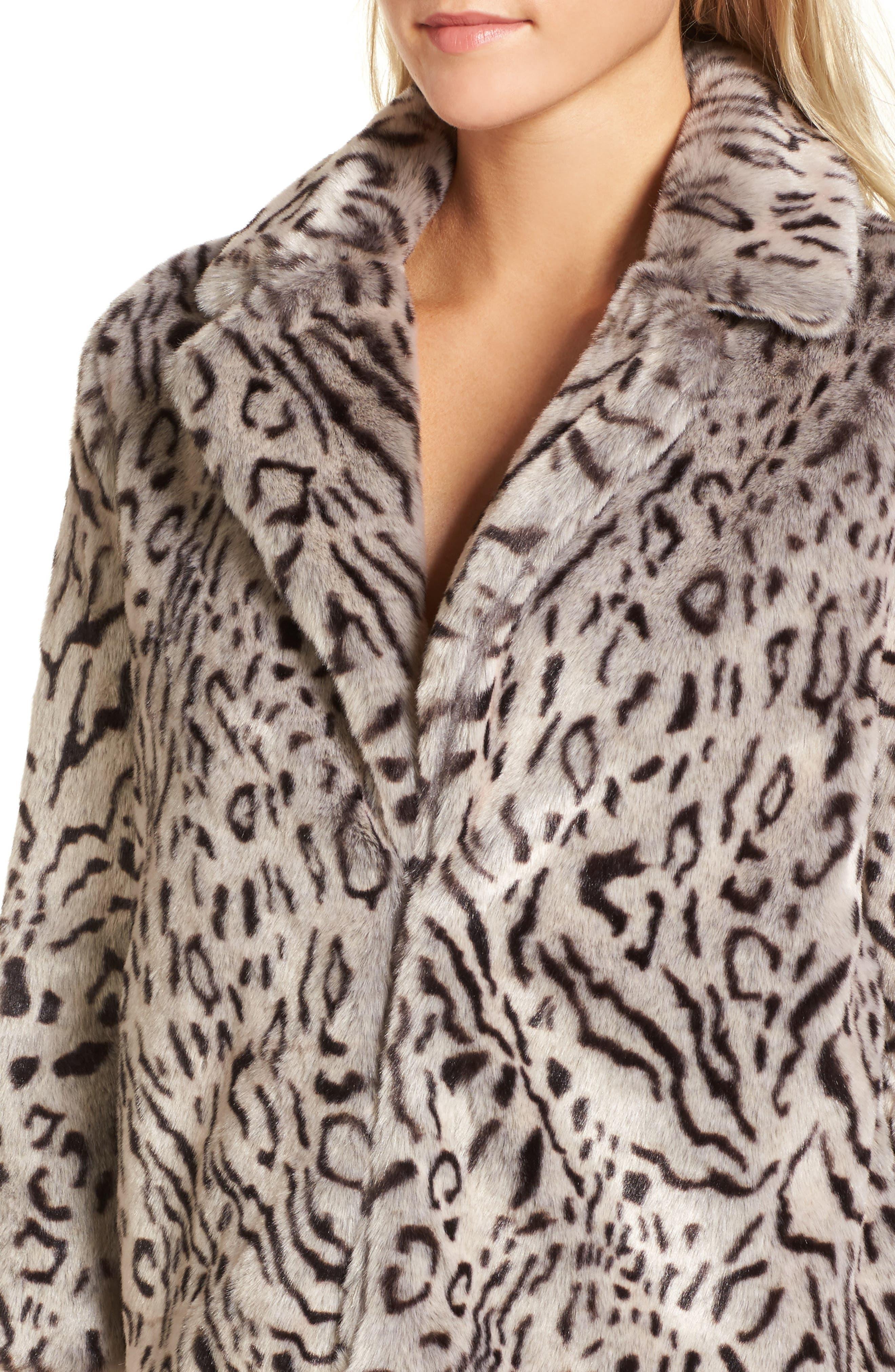 Belle Faux Fur Jacket,                             Alternate thumbnail 4, color,                             Snow Leopard
