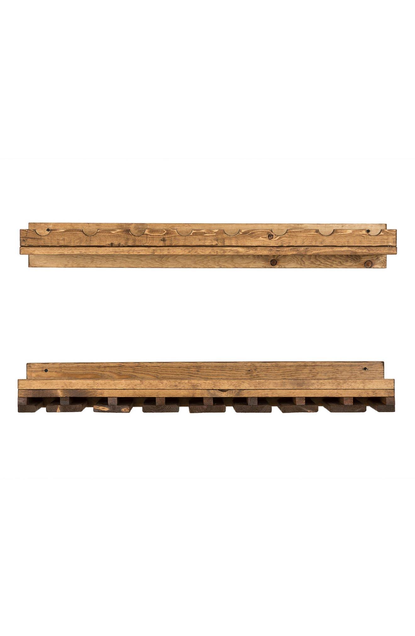 Set of 2 Pine Wood Wine Racks,                             Main thumbnail 1, color,                             Dark Walnut