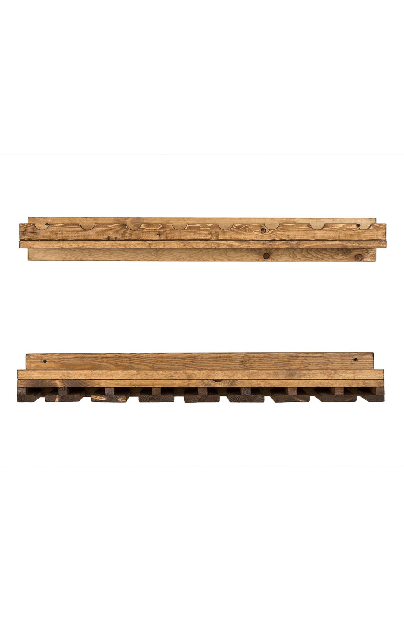 Set of 2 Pine Wood Wine Racks,                         Main,                         color, Dark Walnut