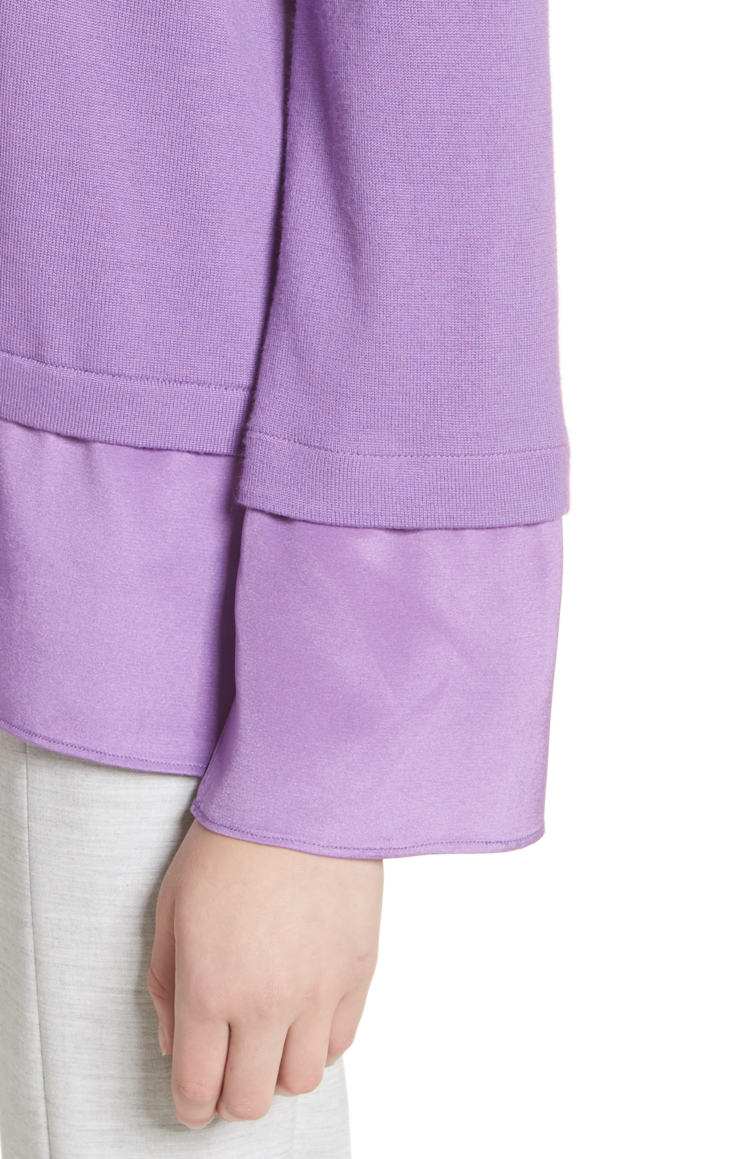 Layered Hem Wool Sweater,                             Alternate thumbnail 4, color,                             Deep Orchid
