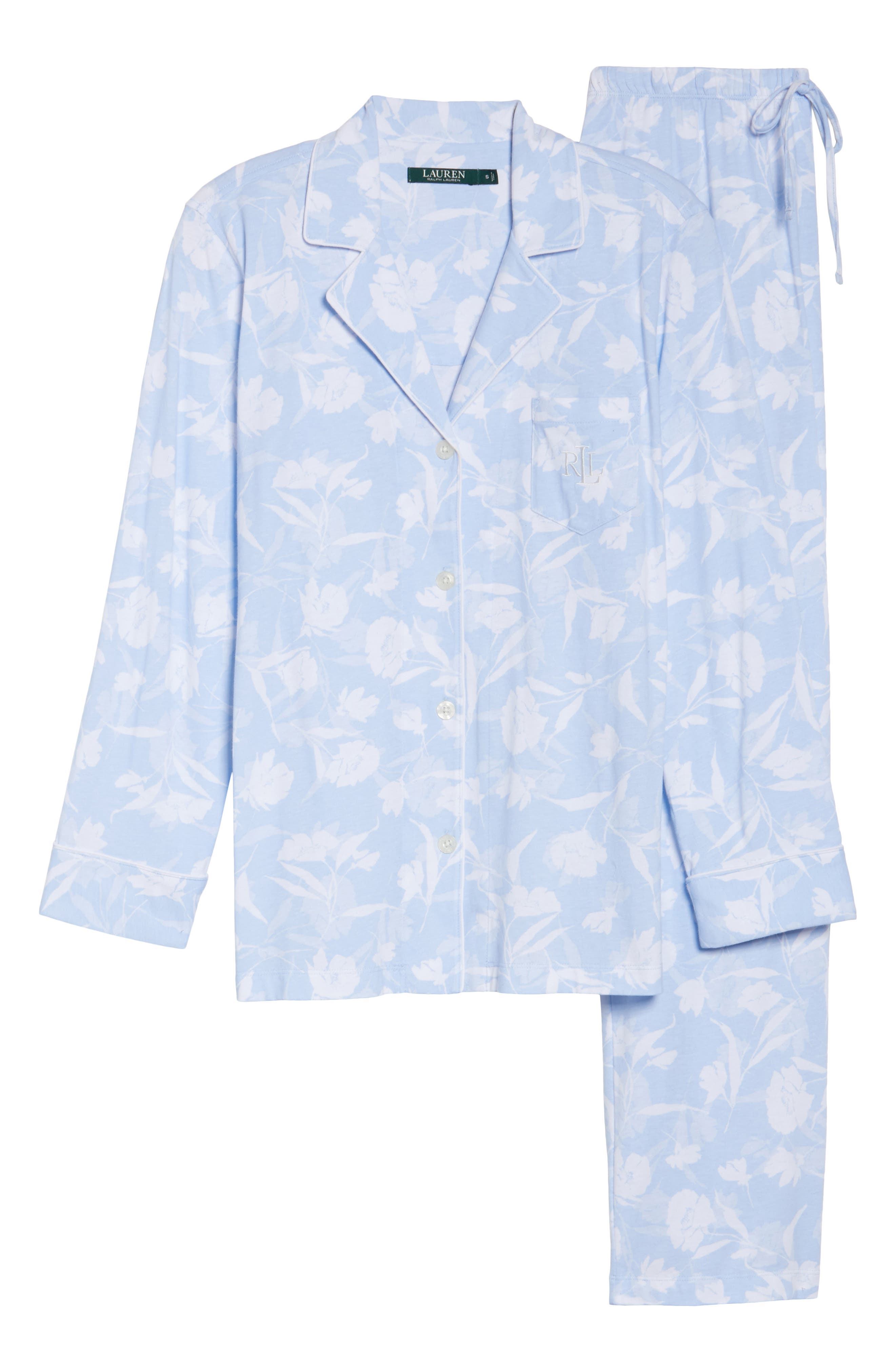 Floral Print Jersey Pajamas,                             Alternate thumbnail 6, color,                             Blue Monotone Floral