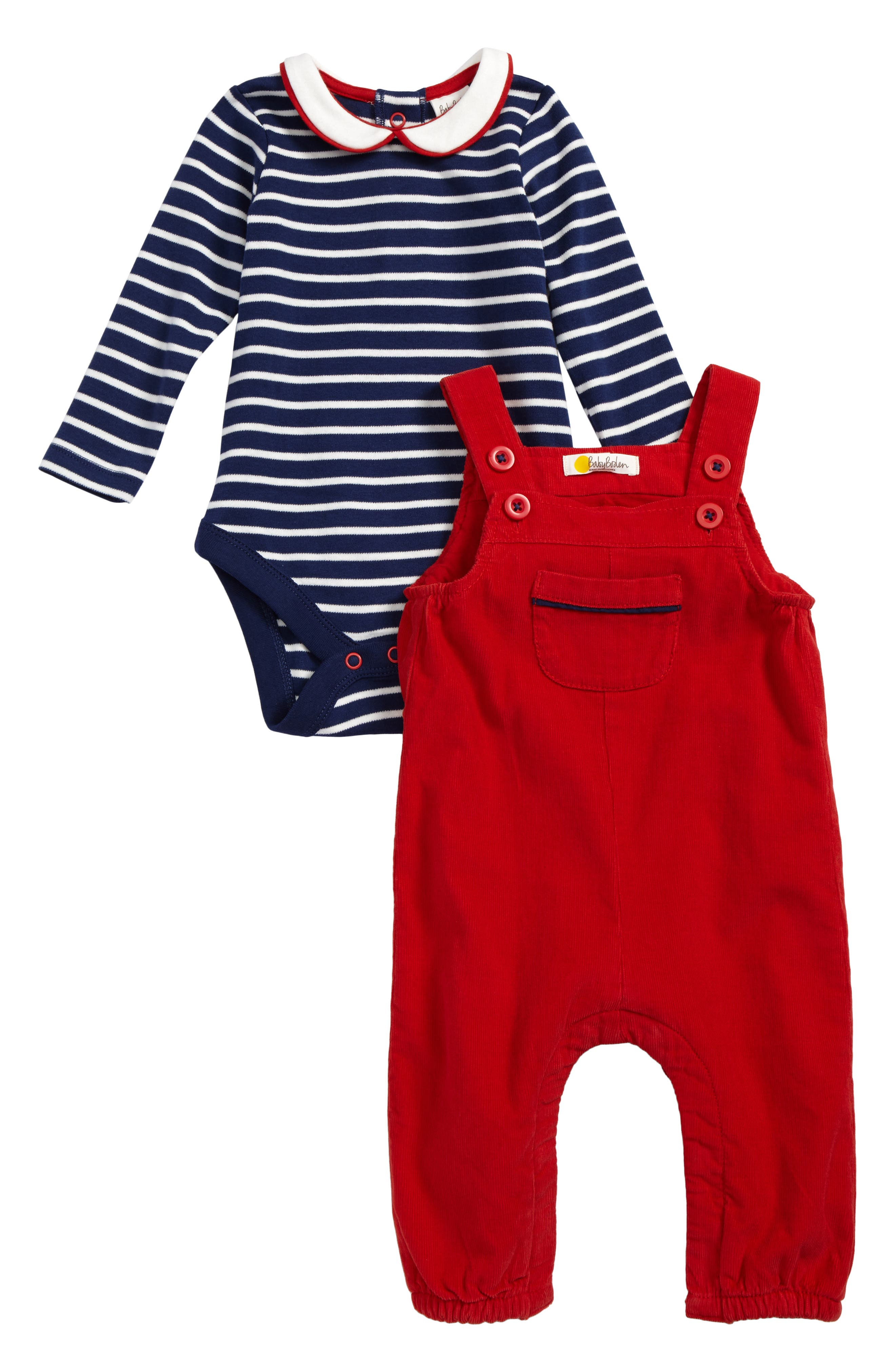 Mini Boden Nostalgic Bodysuit & Overalls Set (Baby Boys)