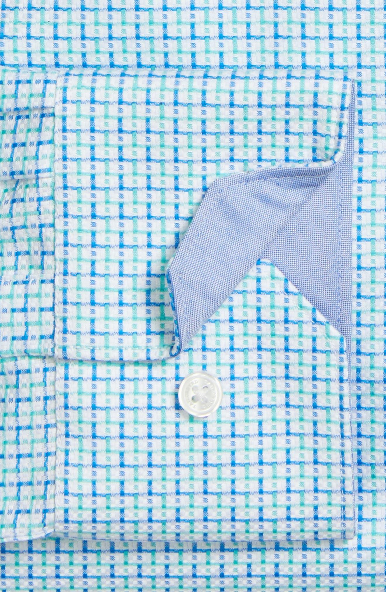 Trim Fit Geometric Dress Shirt,                             Alternate thumbnail 3, color,                             Light Green