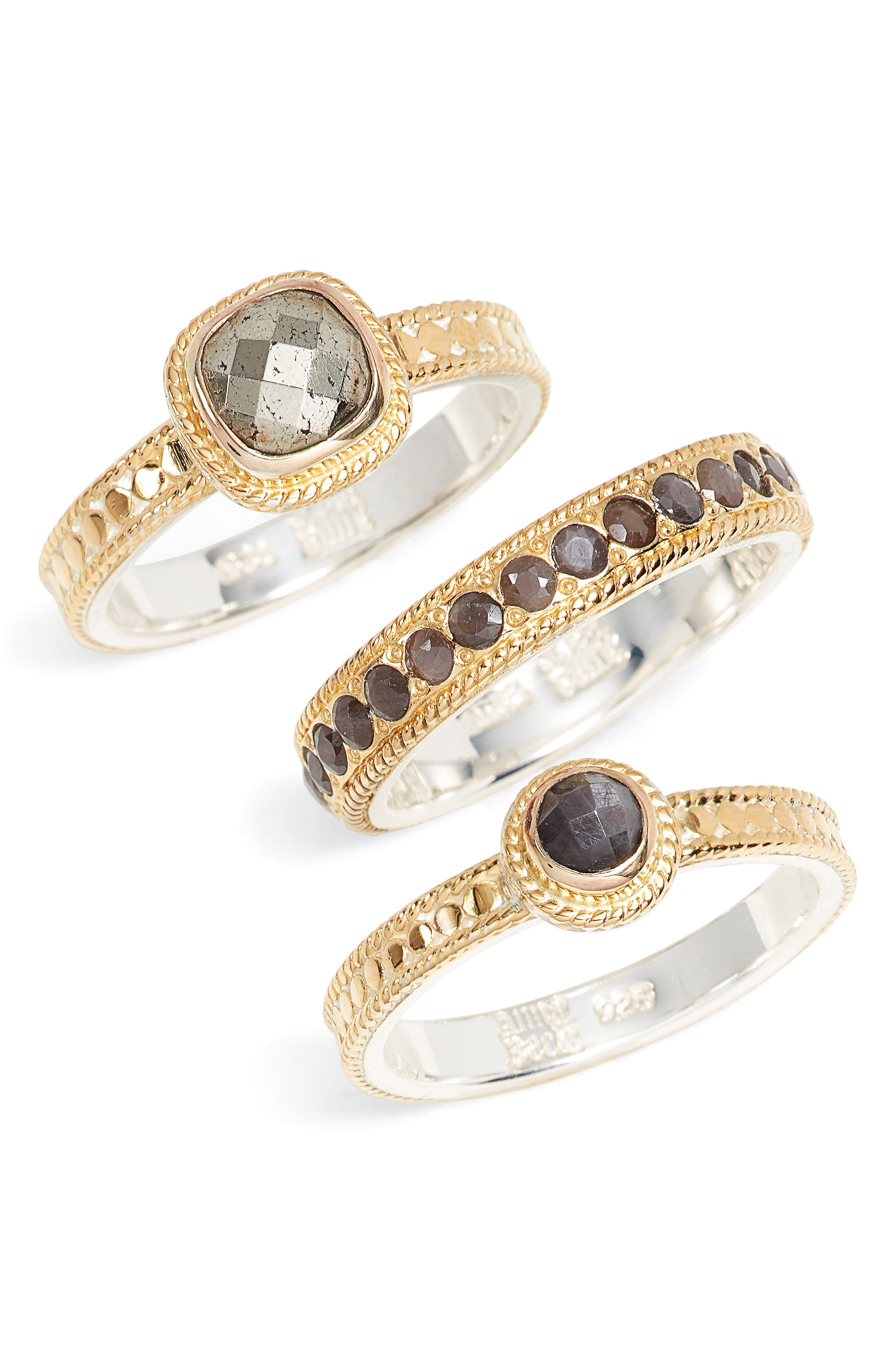 Grey Sapphire & Pyrite Stack Rings,                         Main,                         color, Gold/ Silver/ Grey/ Pyrite