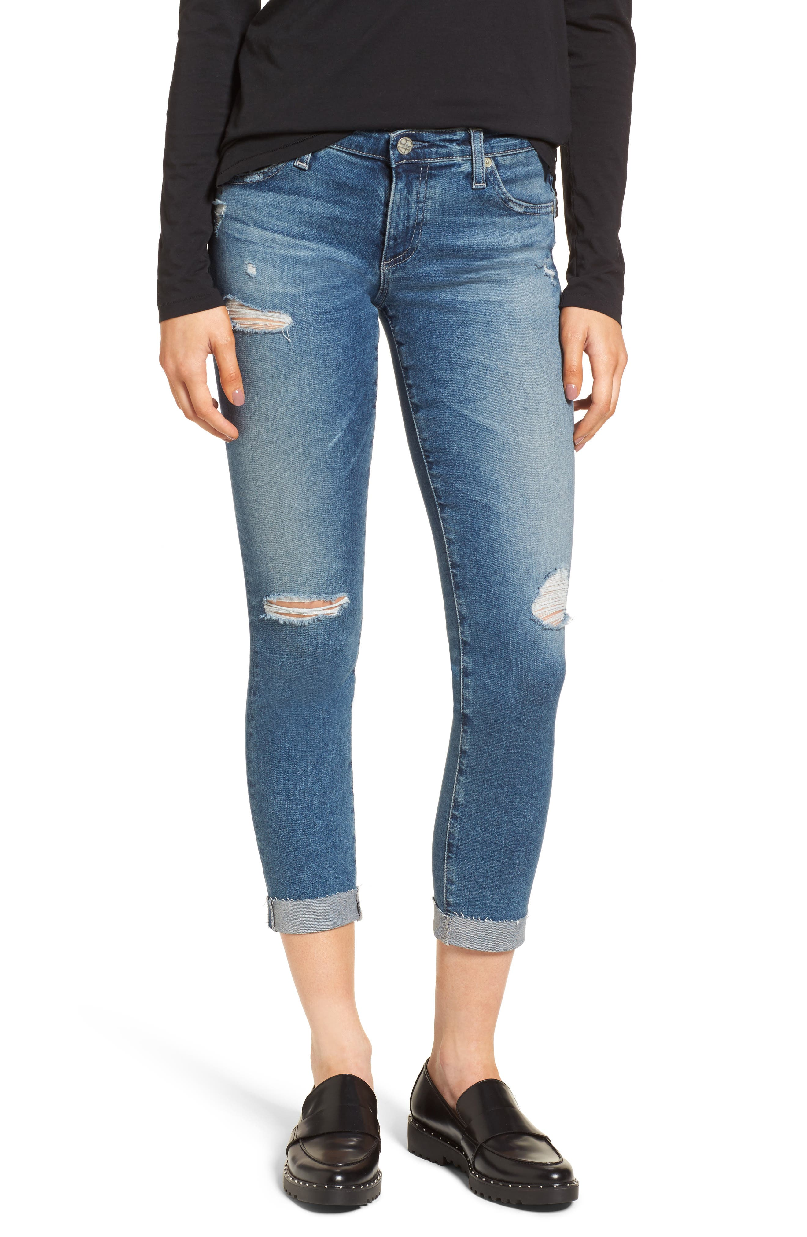 AG The Stilt Distressed Crop Skinny Jeans (13 Years Hunter Blue)