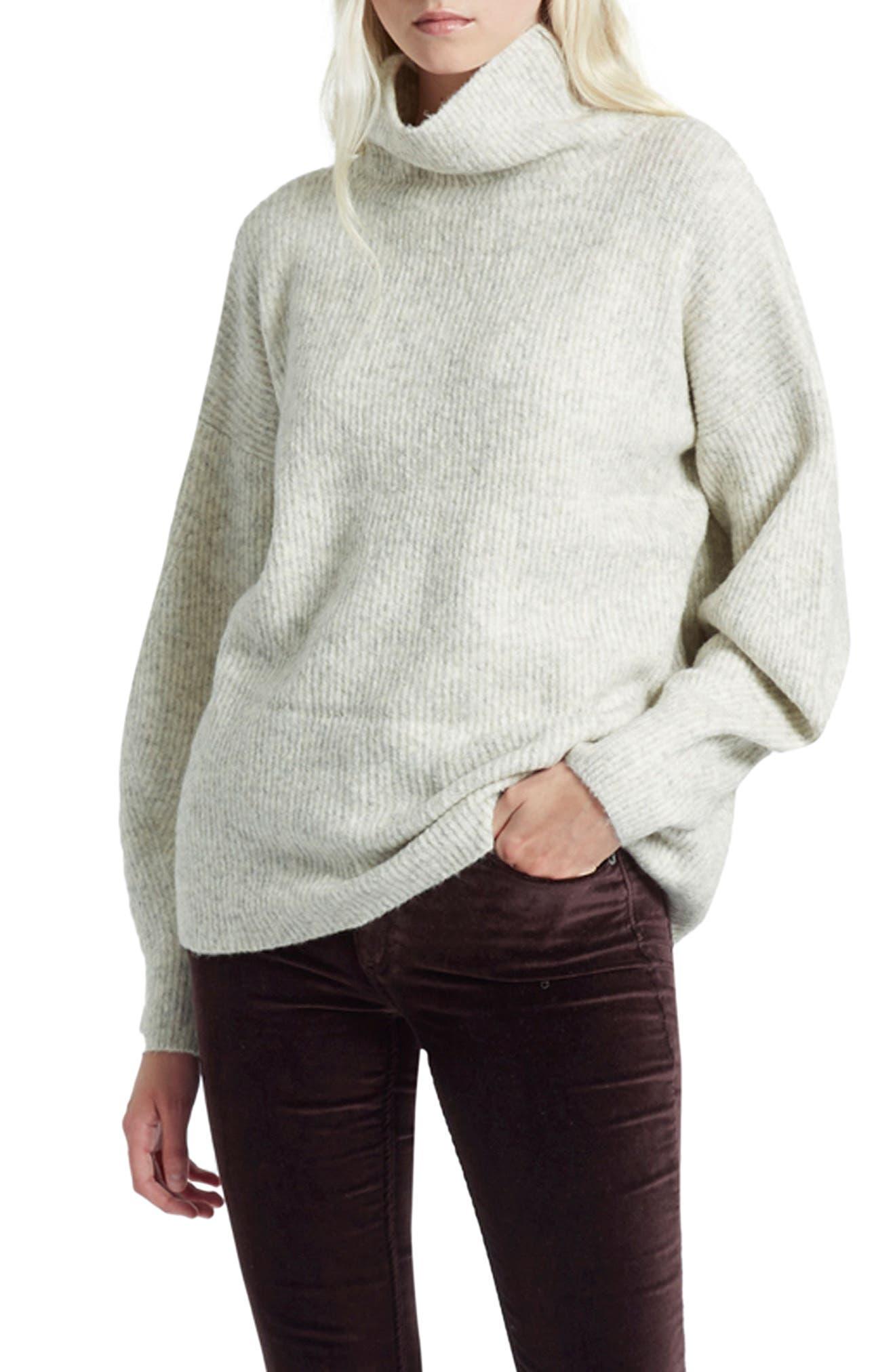 Urban Flossy Turtleneck Sweater,                         Main,                         color, Light Oatmeal