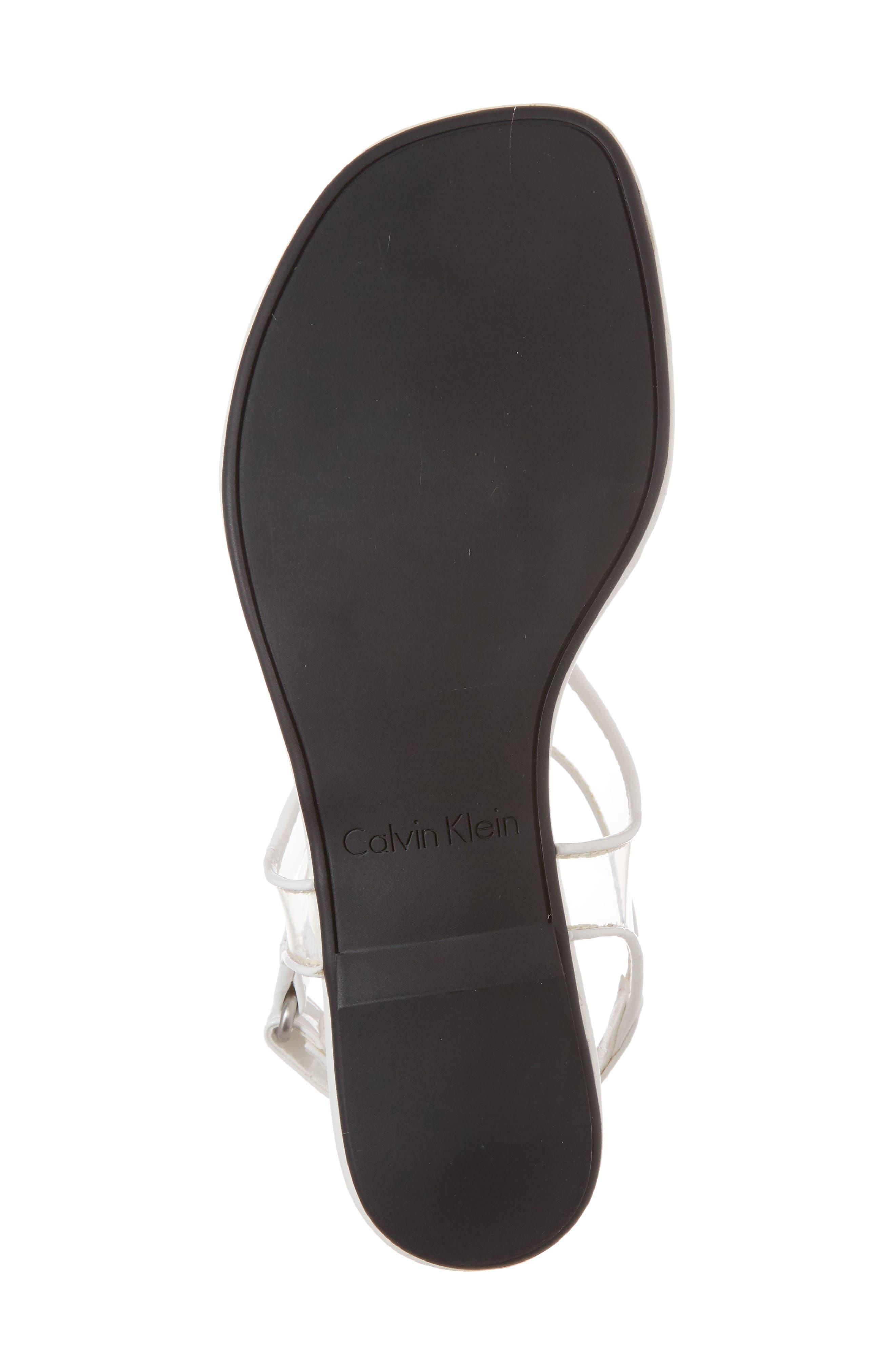 Shilo Clear Strap Sandal,                             Alternate thumbnail 6, color,                             Platinum White Faux Leather