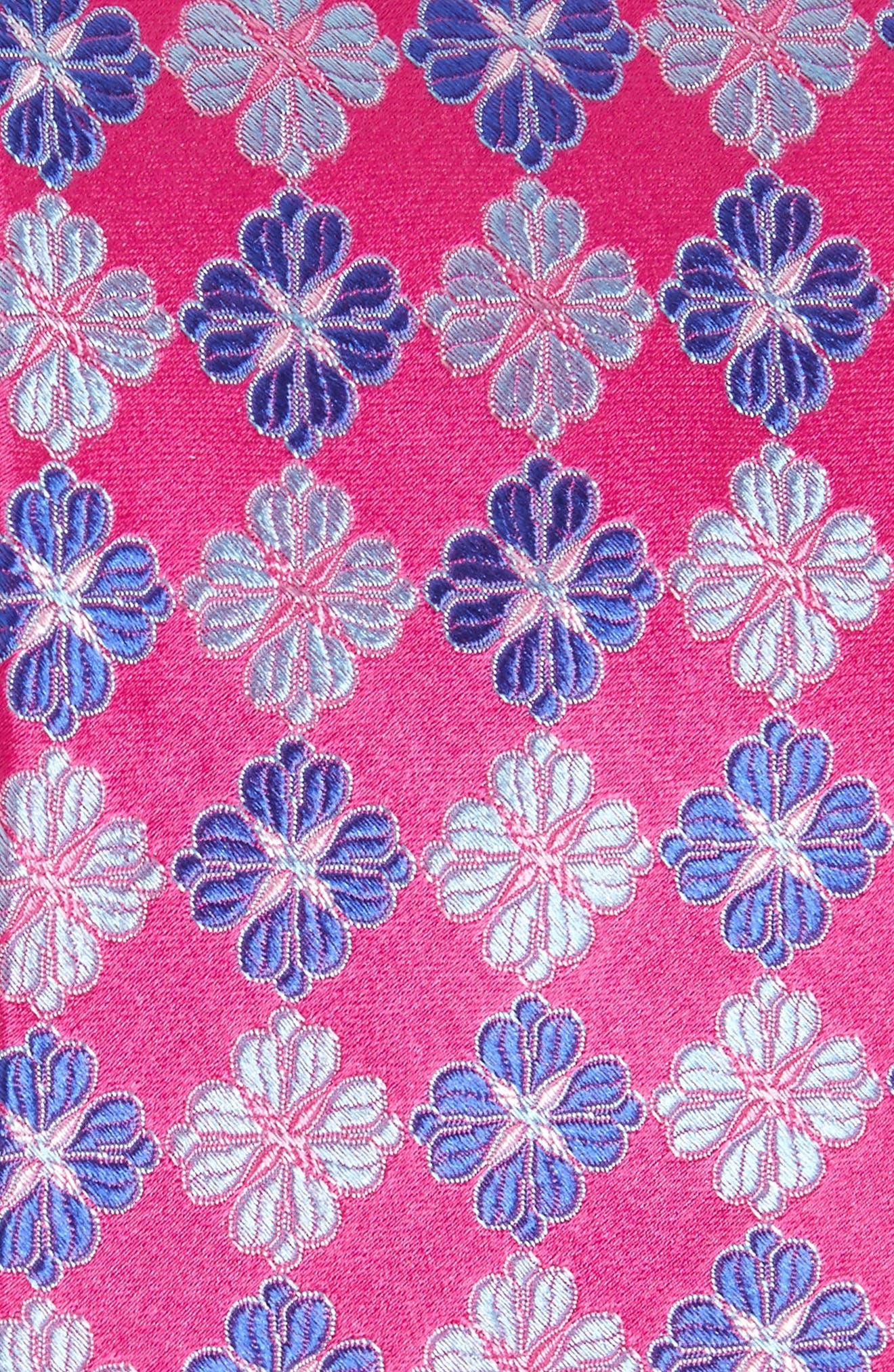 Cole Floral Silk Tie,                             Alternate thumbnail 2, color,                             Fuschia