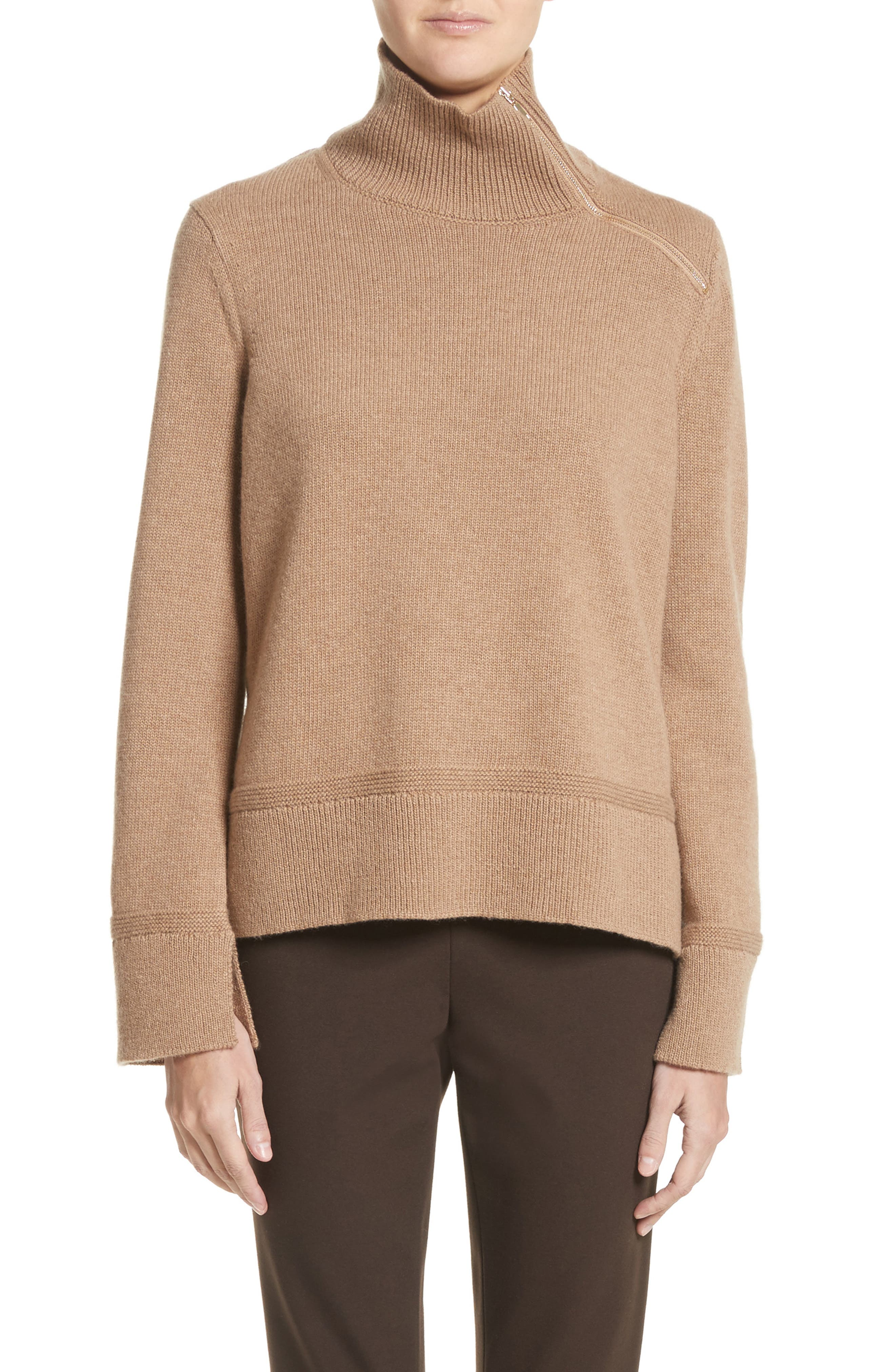 Main Image - Lafayette 148 New York Suede Zip Detail Wool & Cashmere Crop Sweater