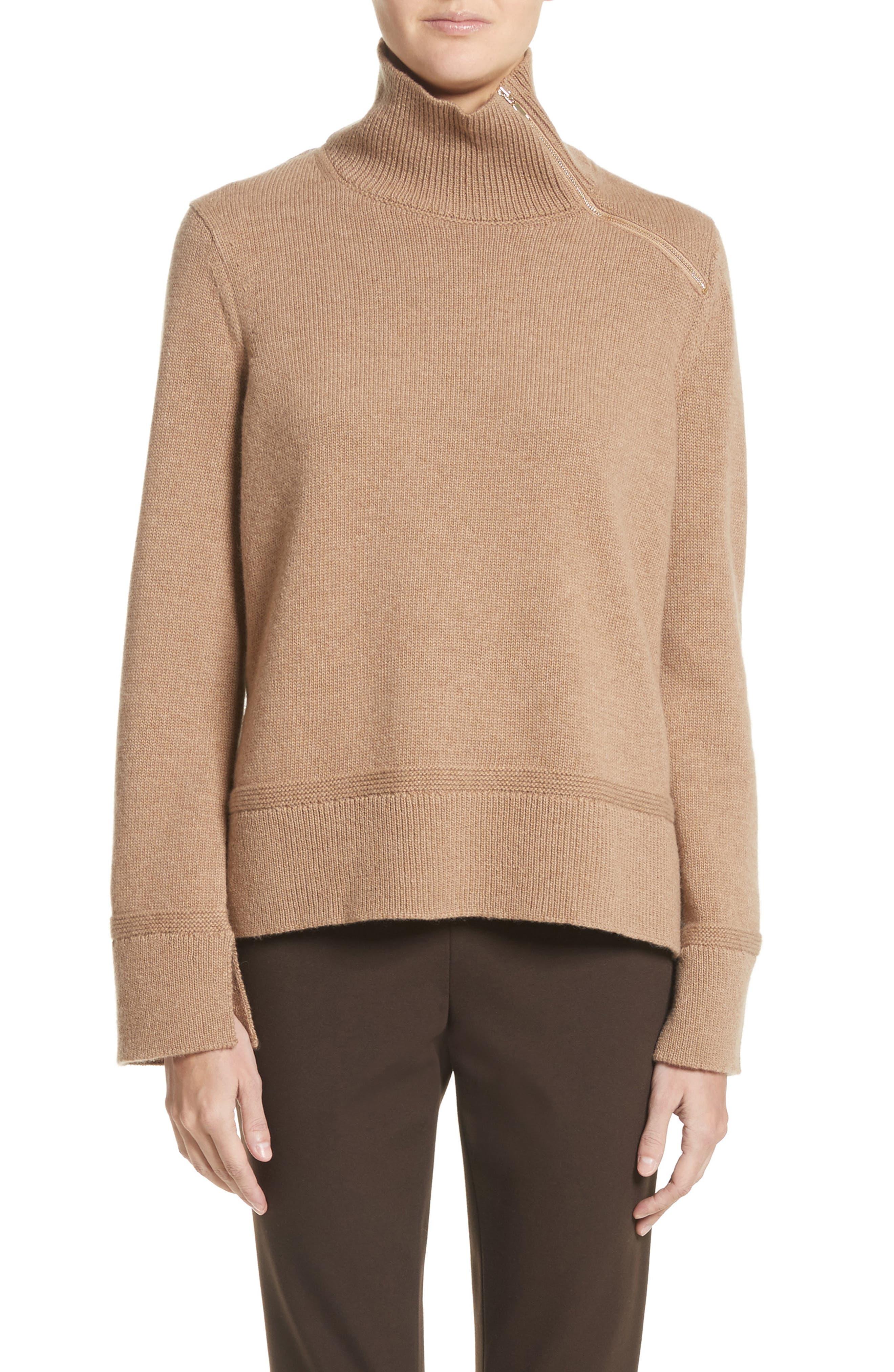 Suede Zip Detail Wool & Cashmere Crop Sweater,                         Main,                         color, Cammello Melange