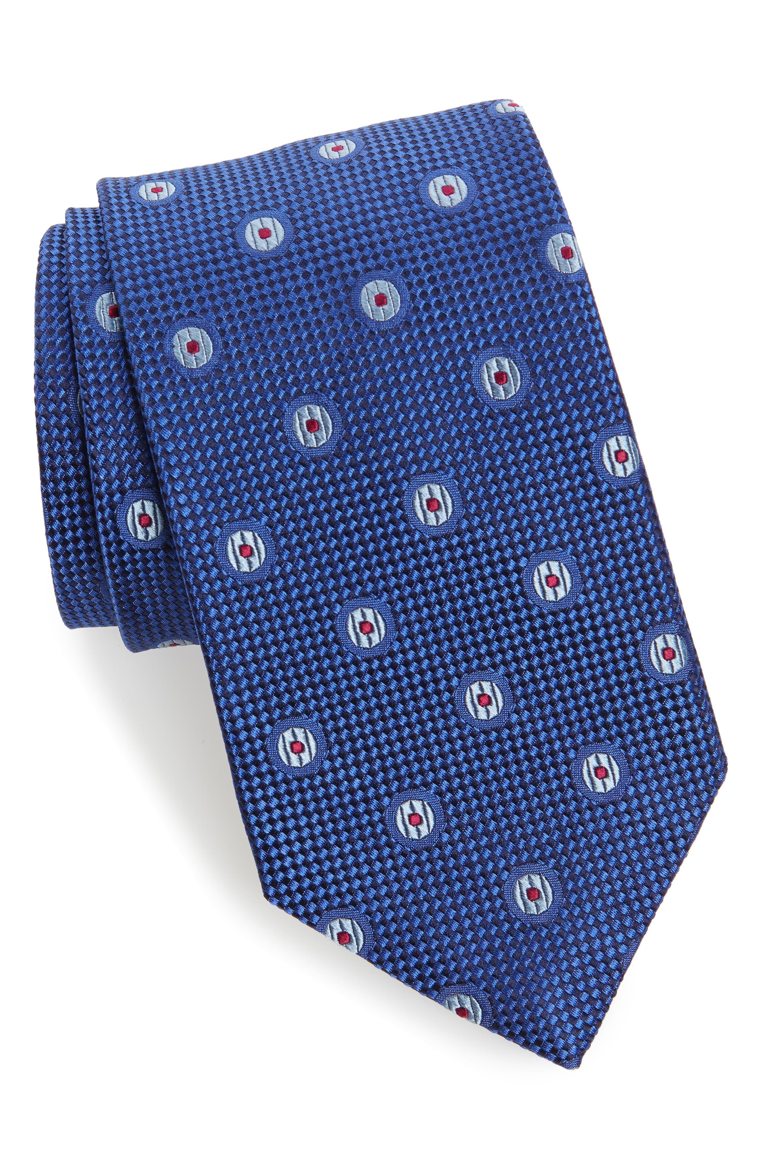 Dot Silk Tie,                             Main thumbnail 1, color,                             Royal