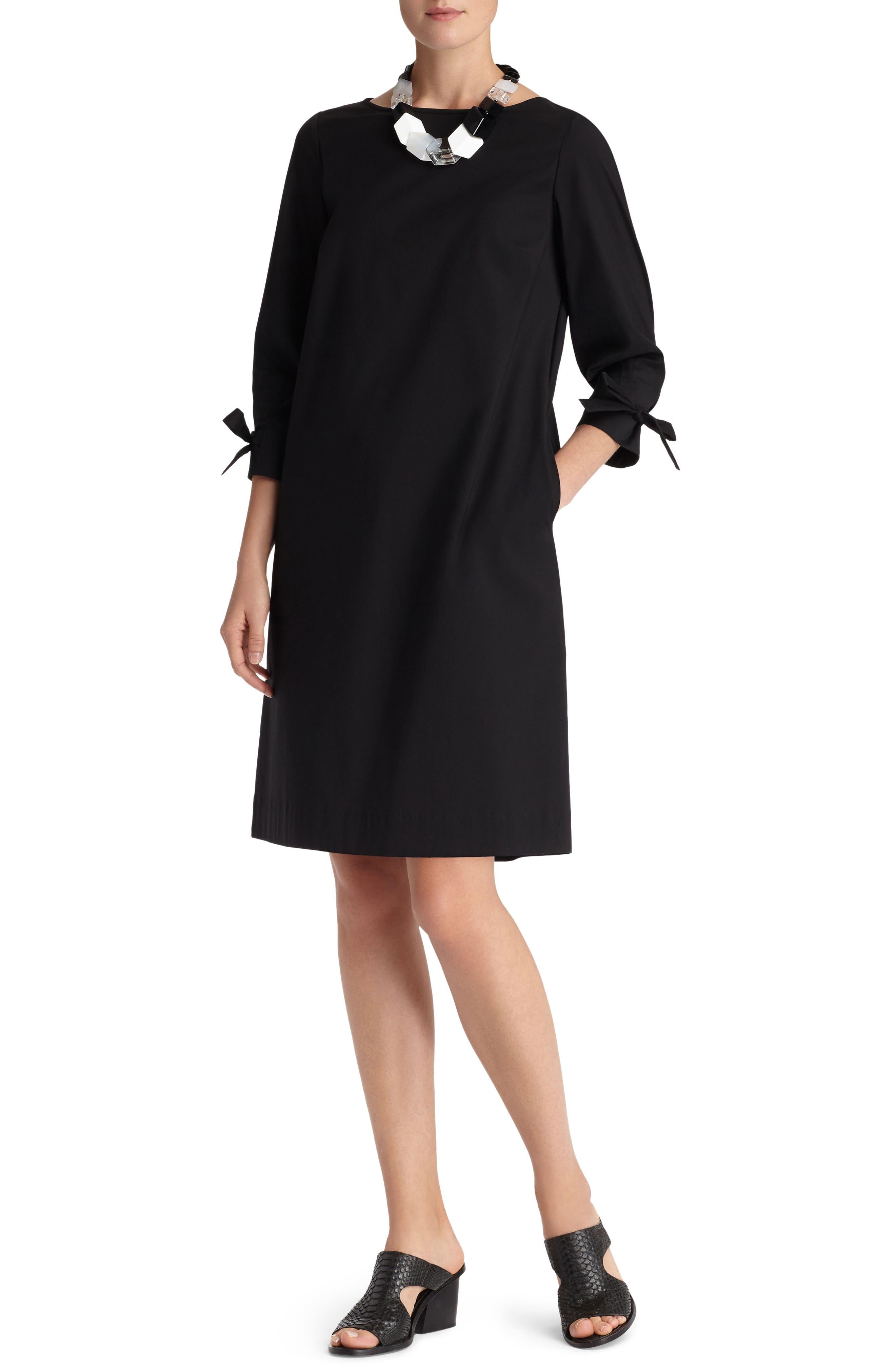 Paige Cotton Blend Dress,                             Main thumbnail 1, color,                             Black
