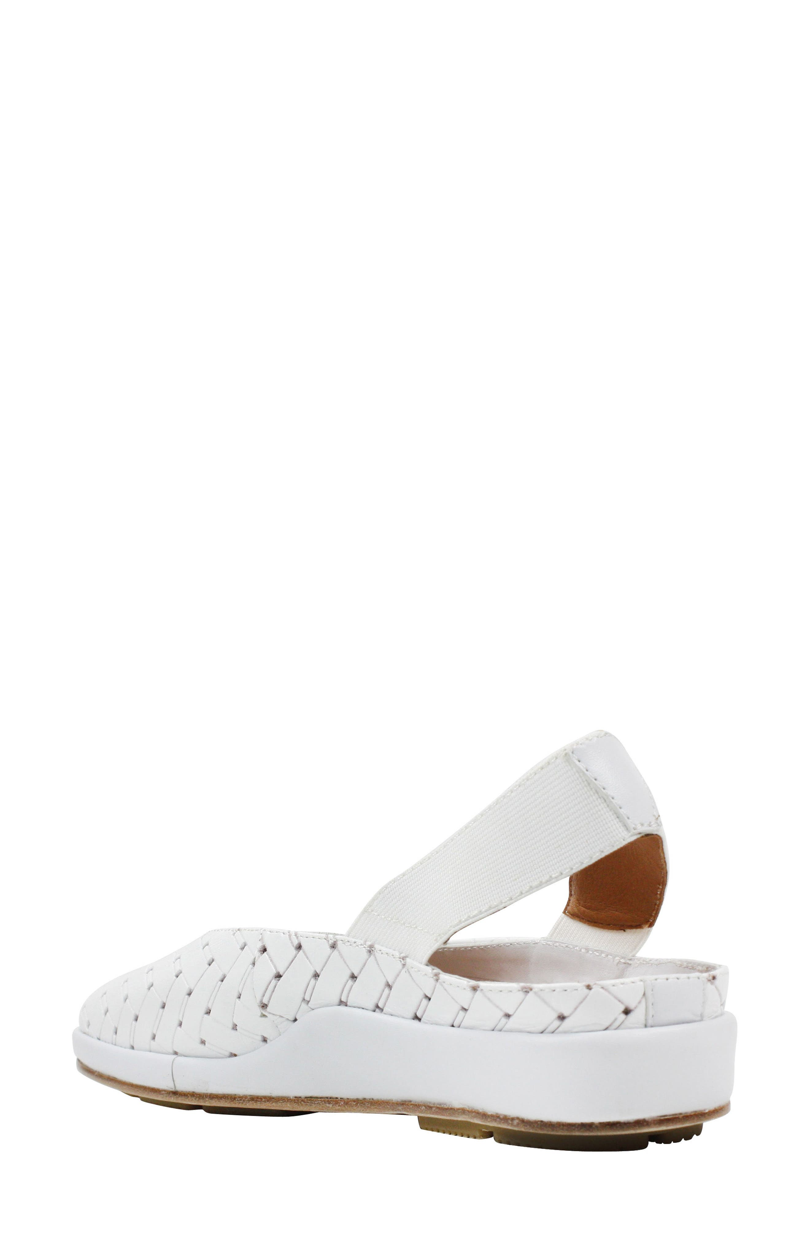 'Cypris' Slingback Wedge,                             Alternate thumbnail 2, color,                             White Leather