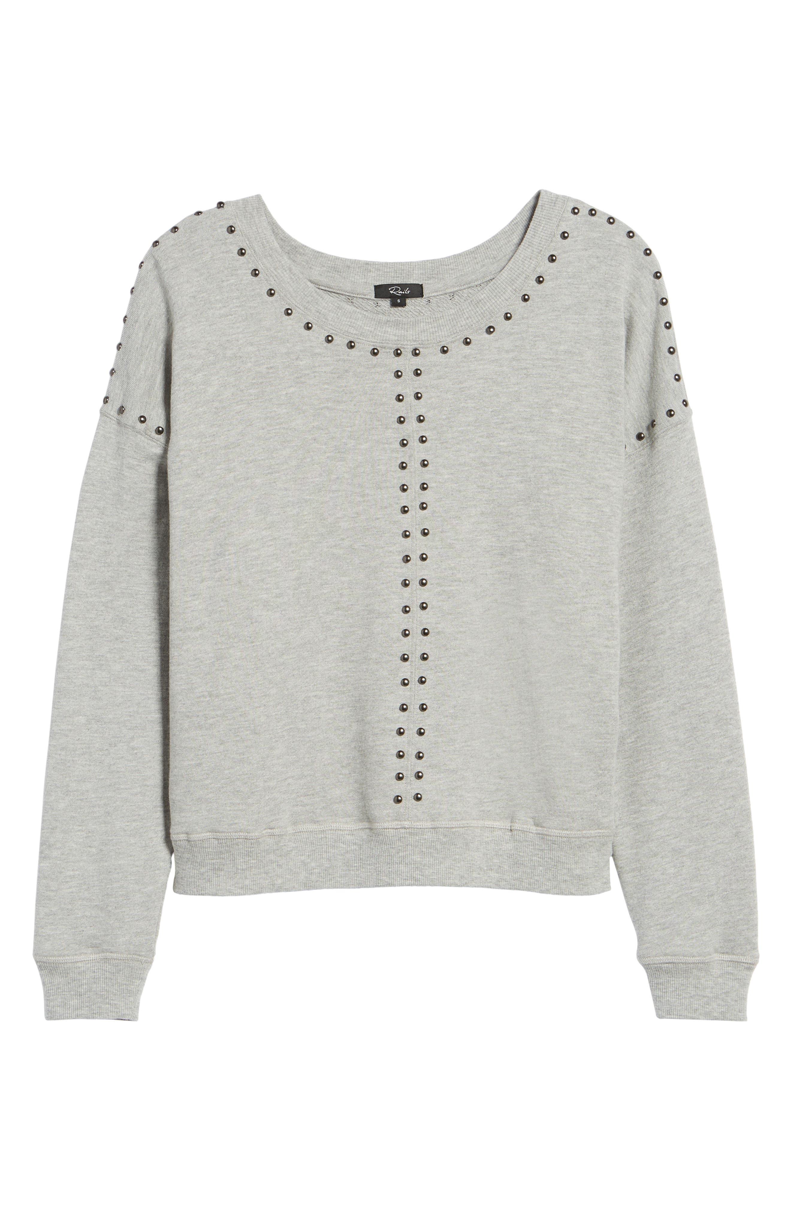 Wilson Studded Sweatshirt,                             Alternate thumbnail 6, color,                             Heather Grey