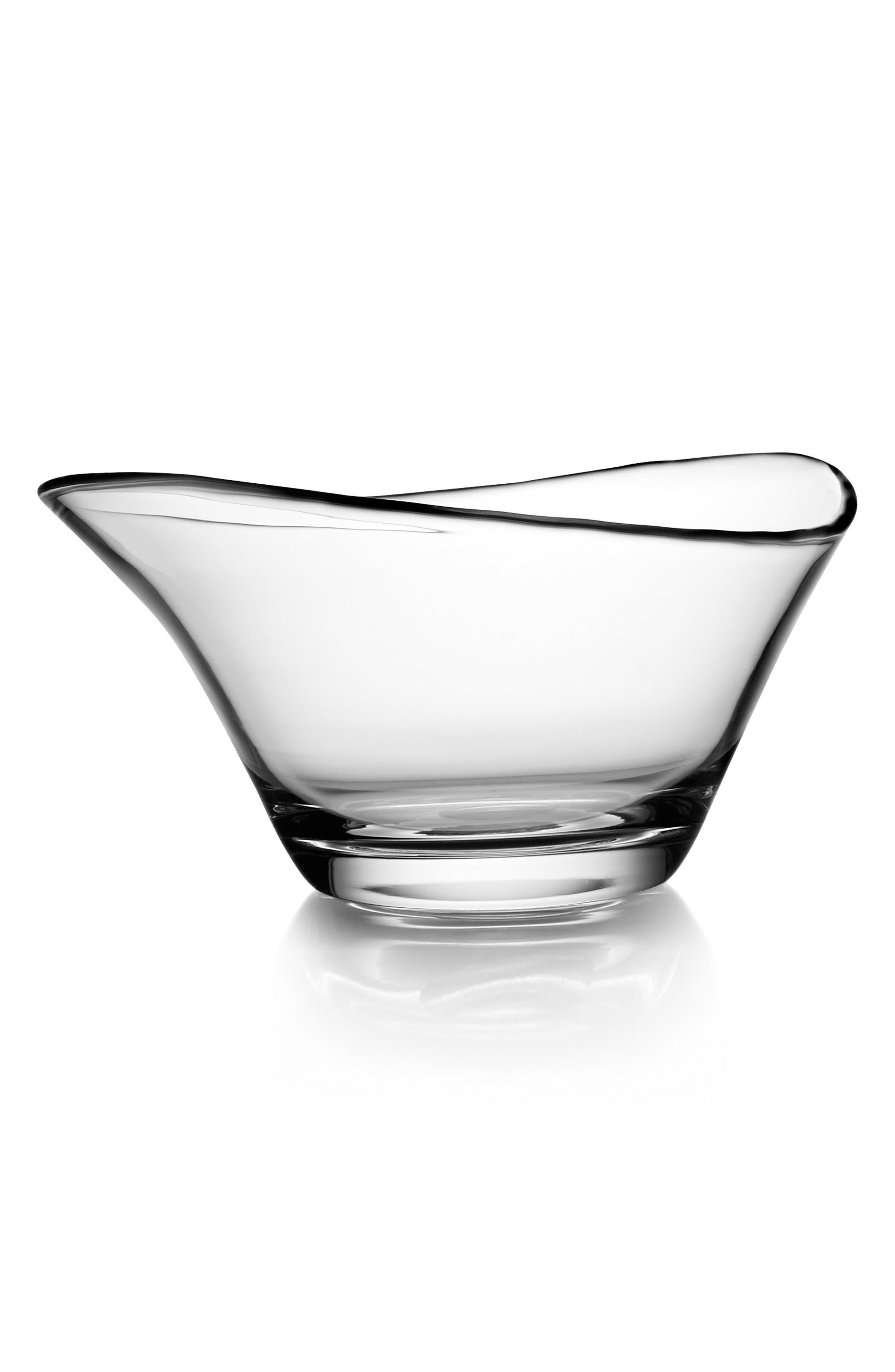 Large Moderne Bowl,                         Main,                         color, Clear