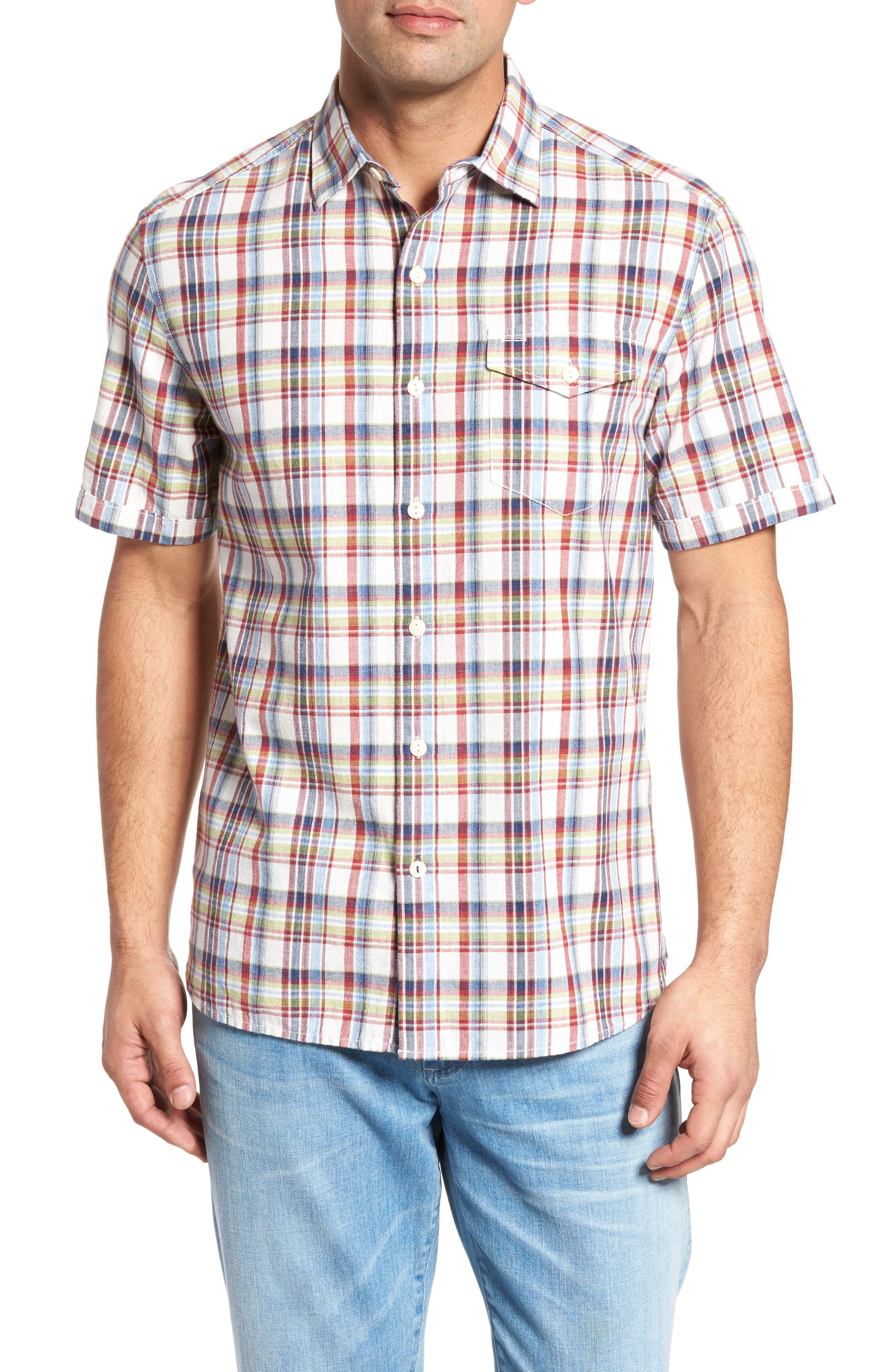 Alternate Image 1 Selected - Tommy Bahama Ocean Cay Plaid Sport Shirt