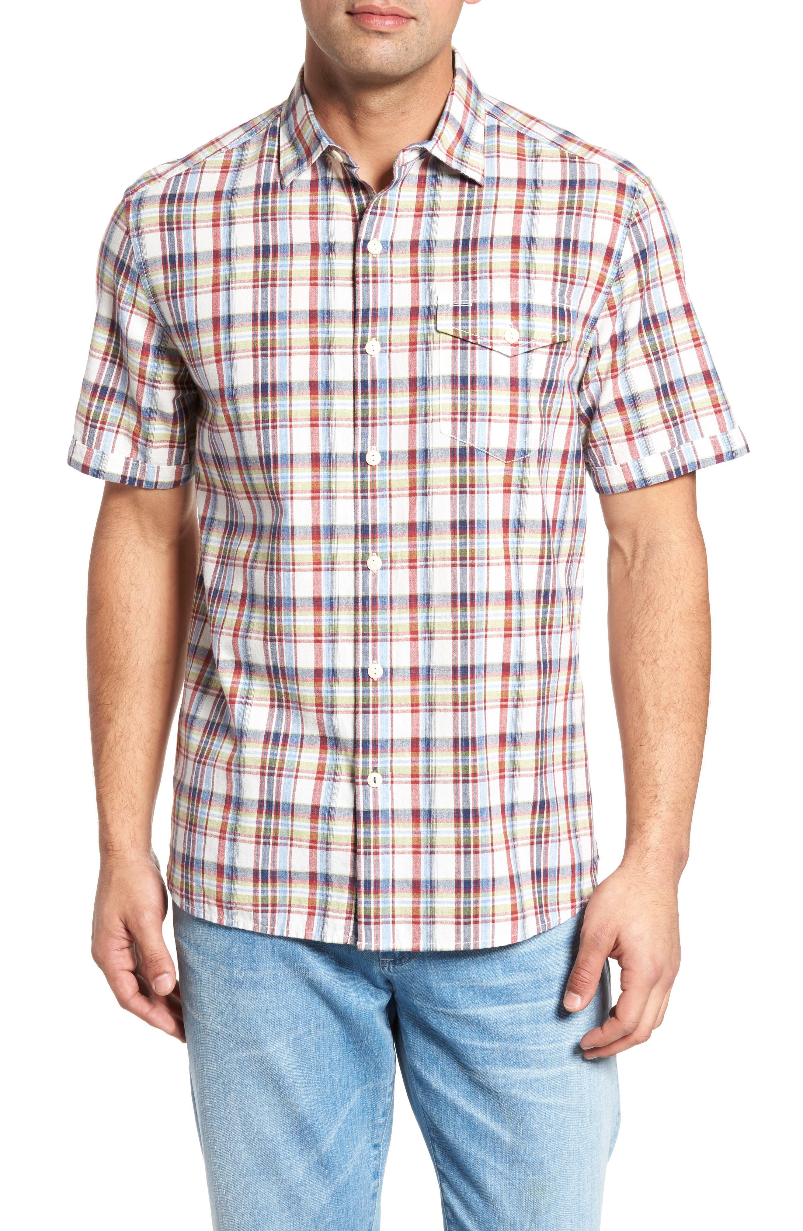 Ocean Cay Plaid Sport Shirt,                         Main,                         color, Kingdom Blue
