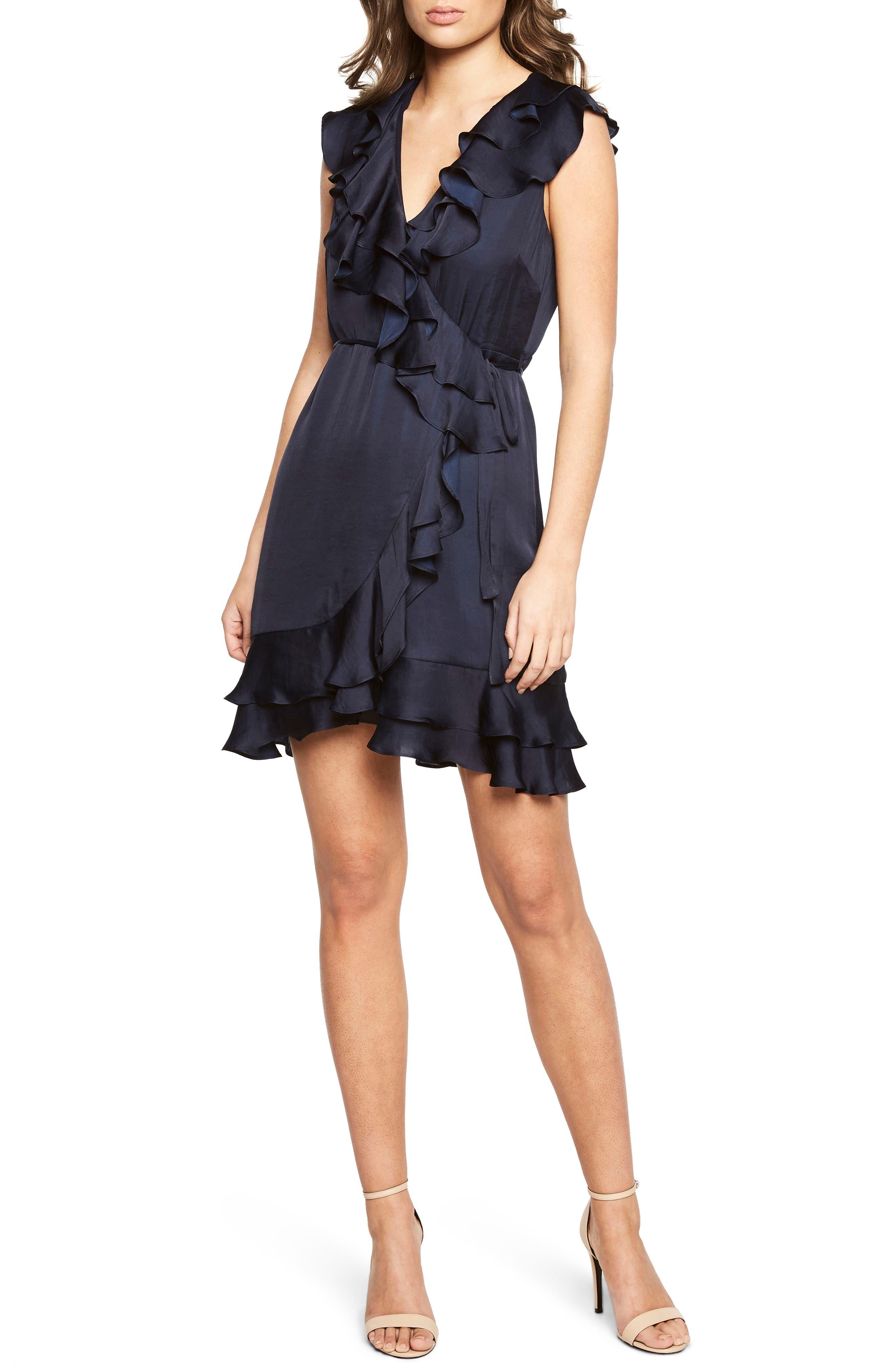 Ruffle Faux Wrap Dress,                         Main,                         color, Navy