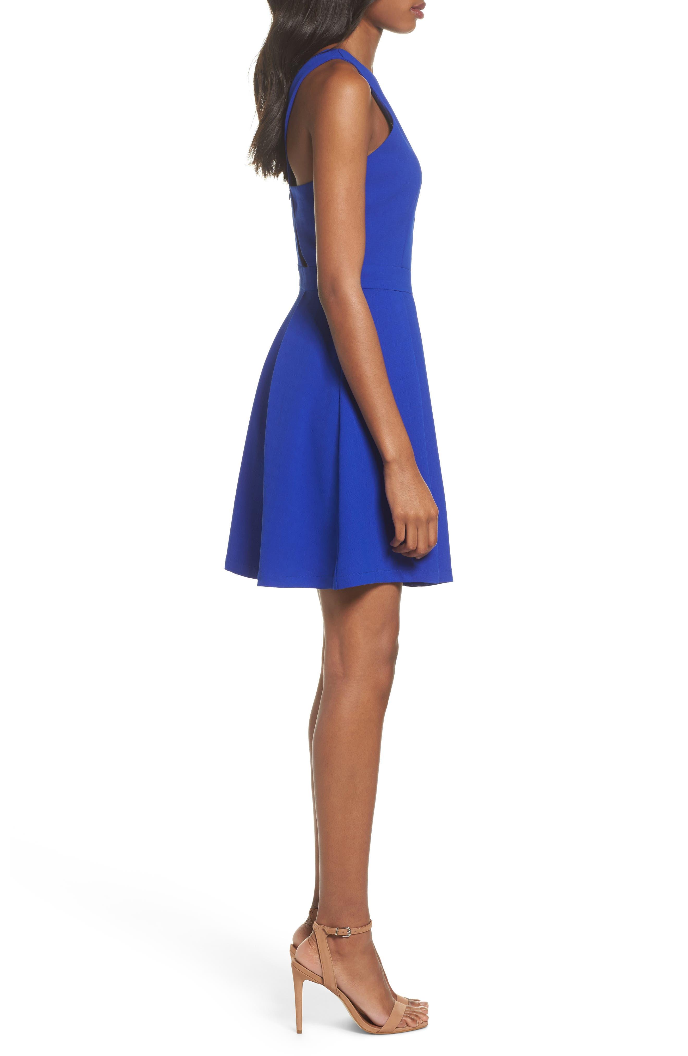 Scalloped Fit & Flare Dress,                             Alternate thumbnail 3, color,                             Blue
