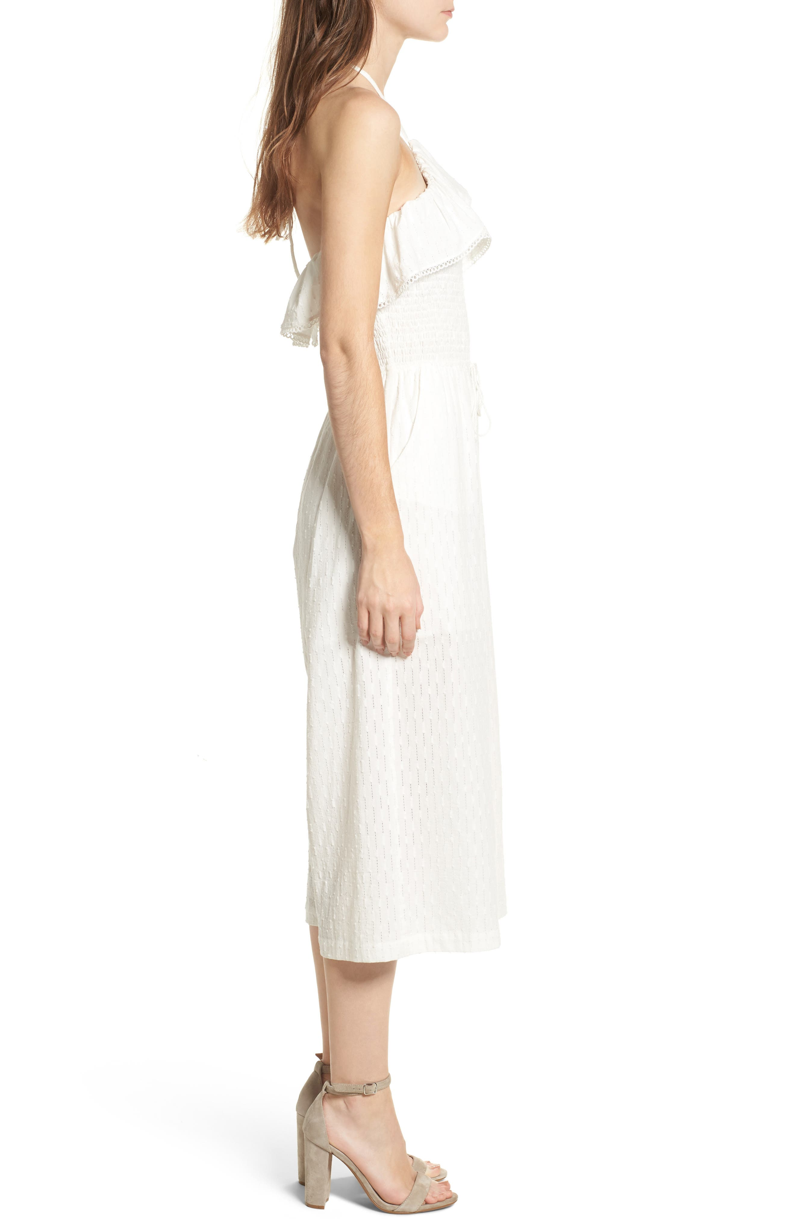 Coco Smocked Ruffle Off the Shoulder Jumpsuit,                             Alternate thumbnail 3, color,                             White
