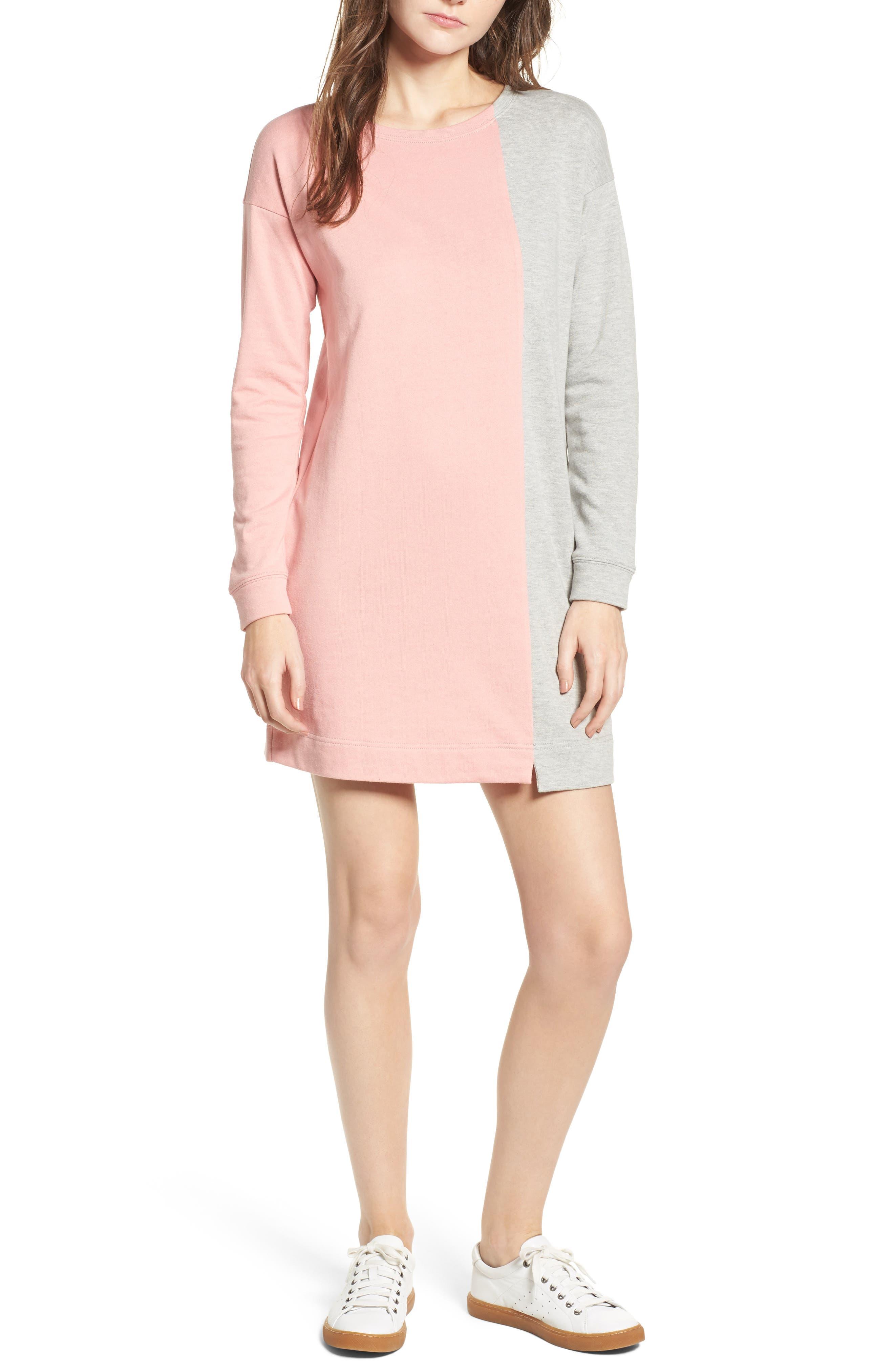 Colorblock Sweatshirt Dress,                         Main,                         color, H Grey/ Light Pink