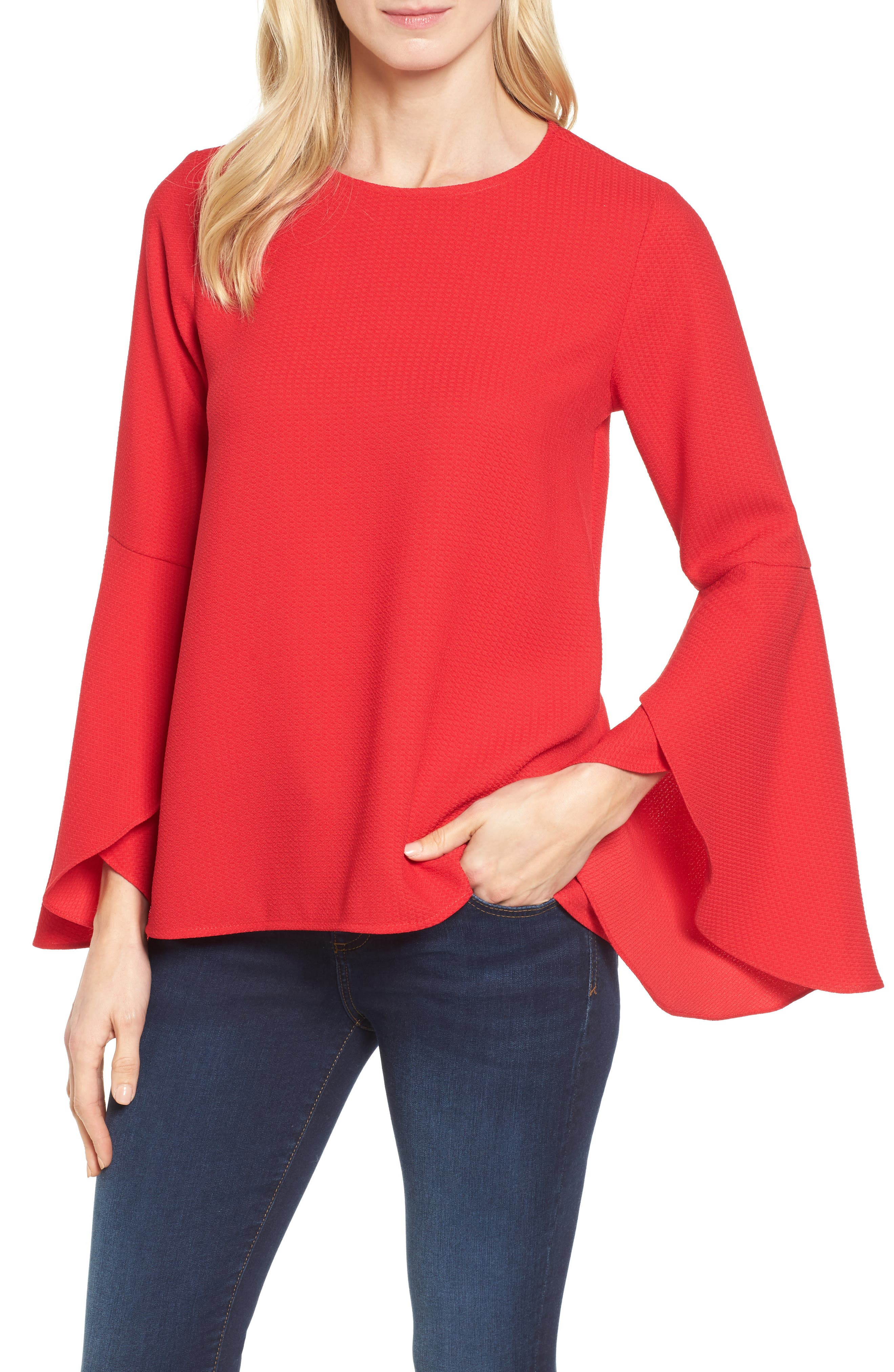 Bell Sleeve Top,                         Main,                         color, Red Pepper