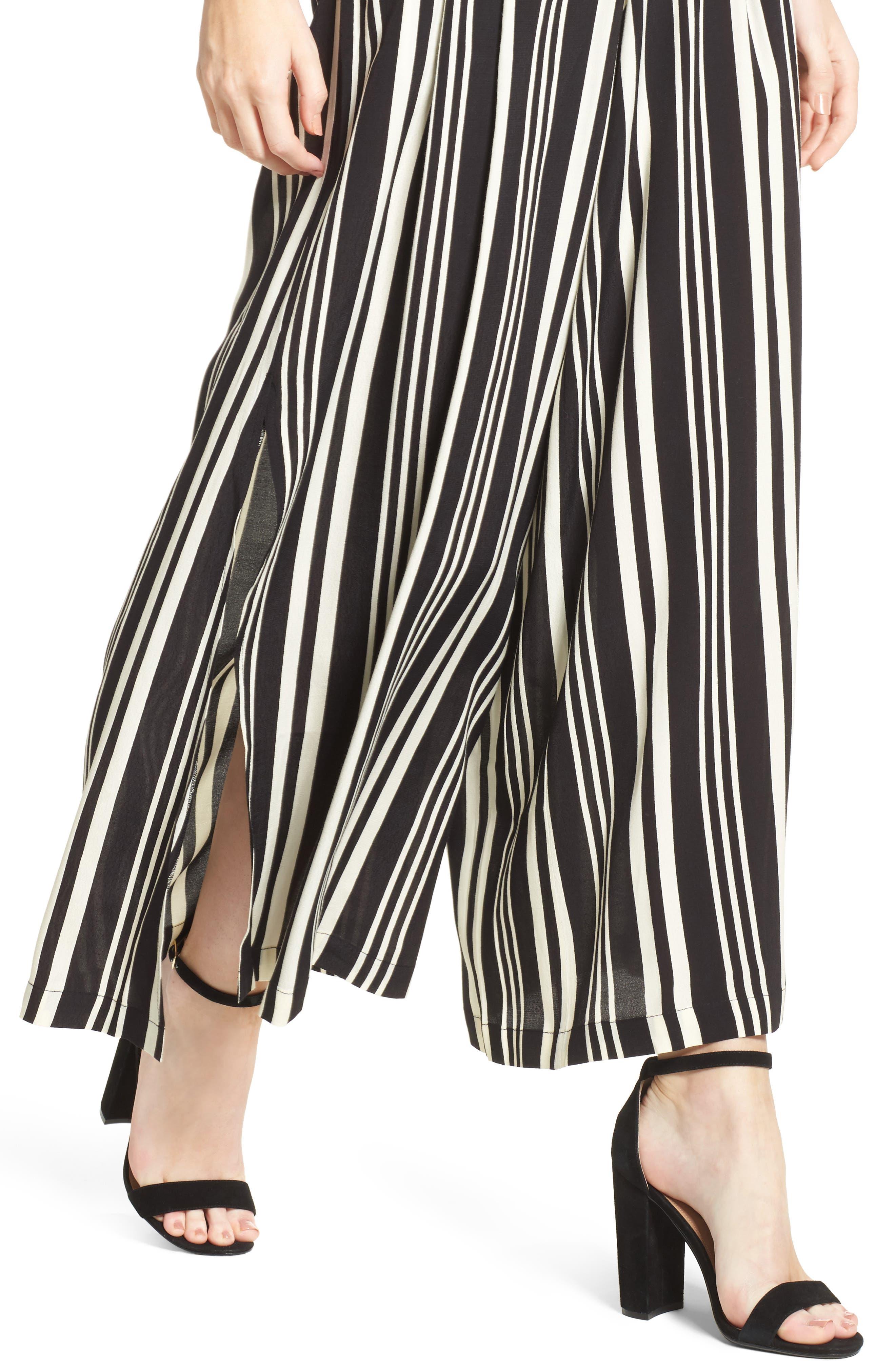 Split Leg Pants,                             Main thumbnail 1, color,                             Black Bold Wide Sripe