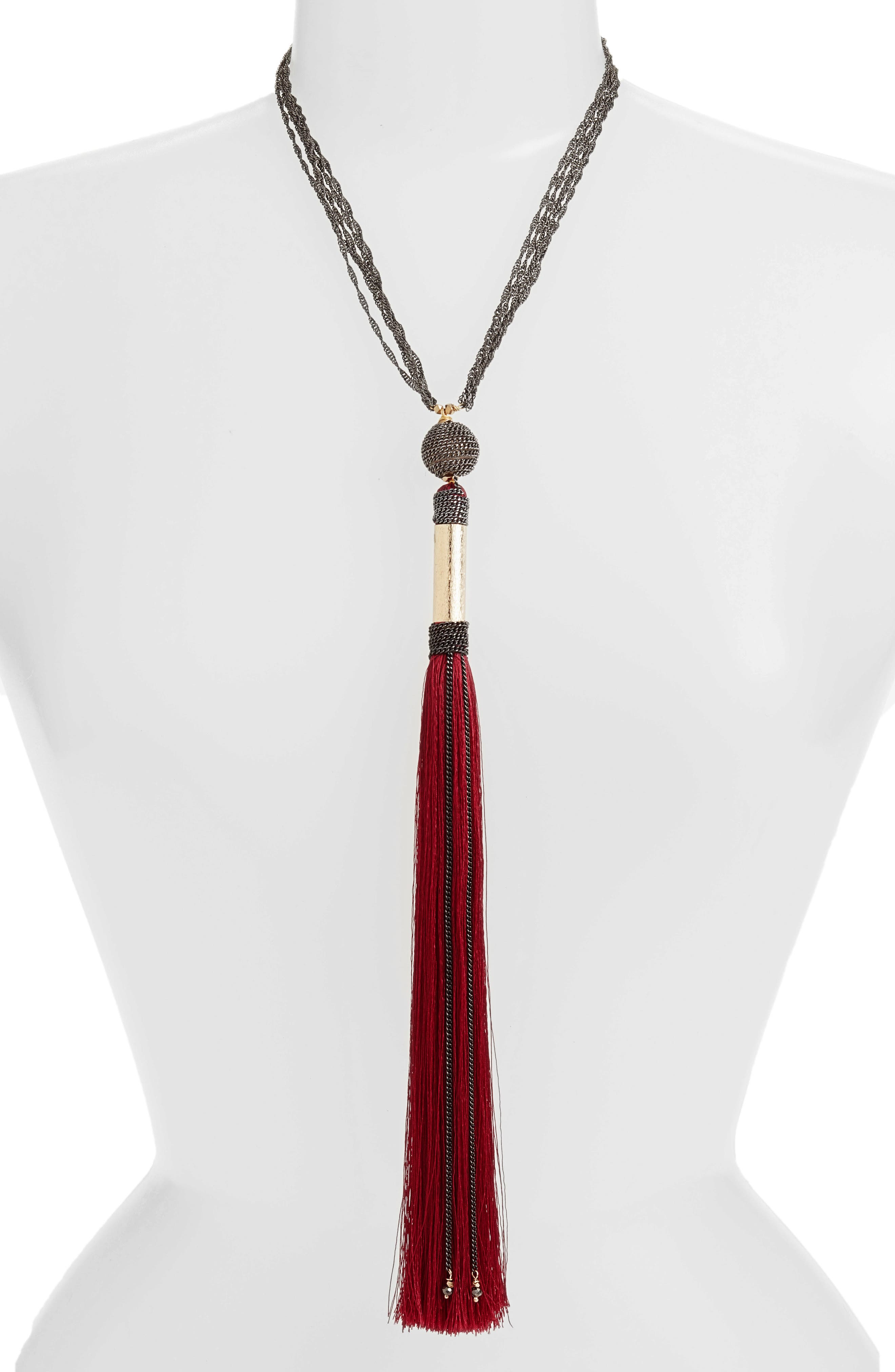 Long Tassel Necklace,                         Main,                         color, Red