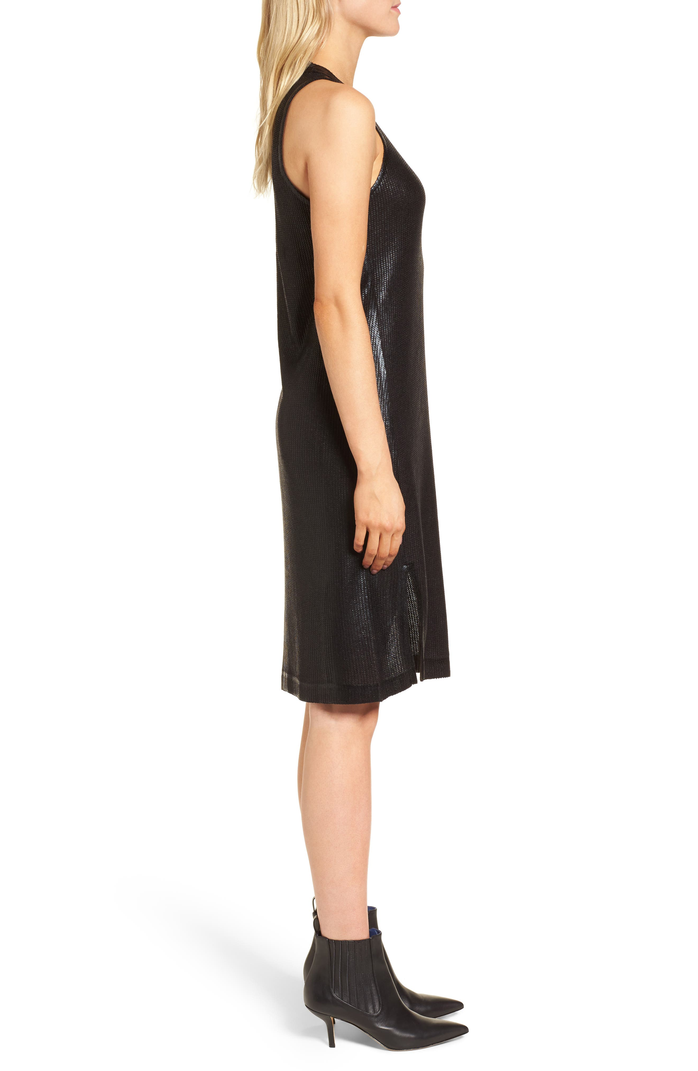 Metallic Coated Dress,                             Alternate thumbnail 3, color,                             Black