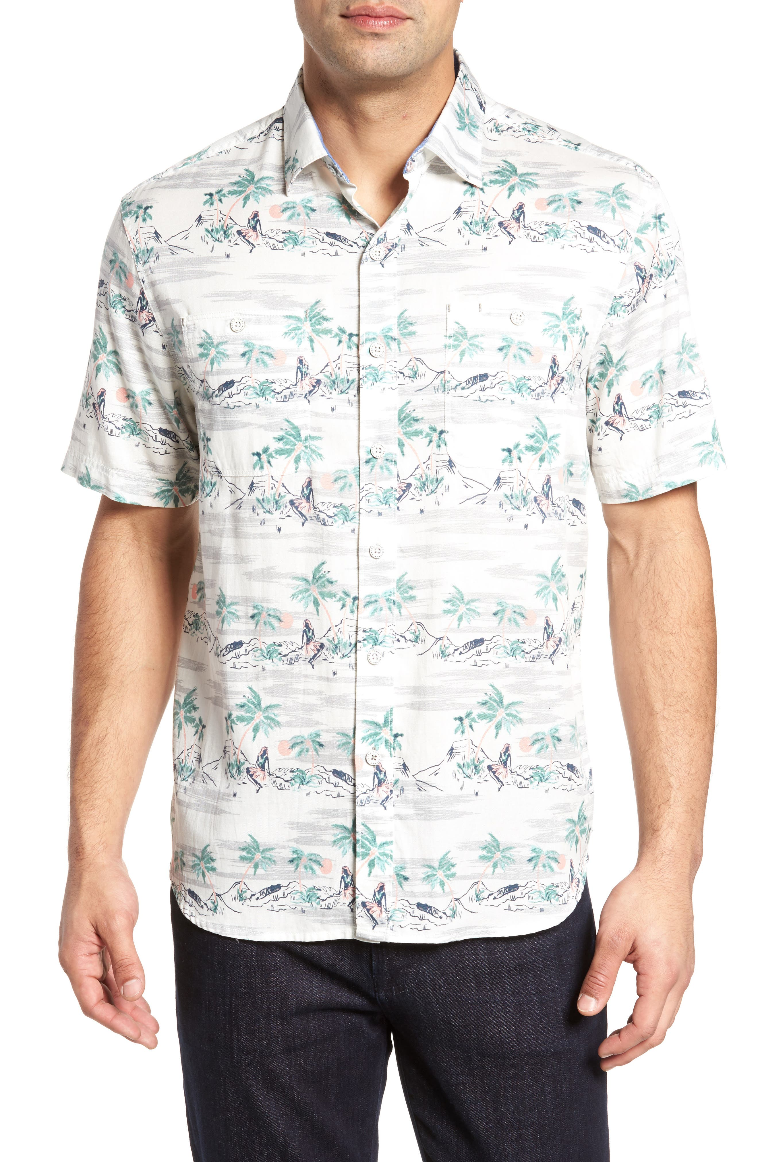 What the Hula Camp Shirt,                             Main thumbnail 1, color,                             Coconut Cream