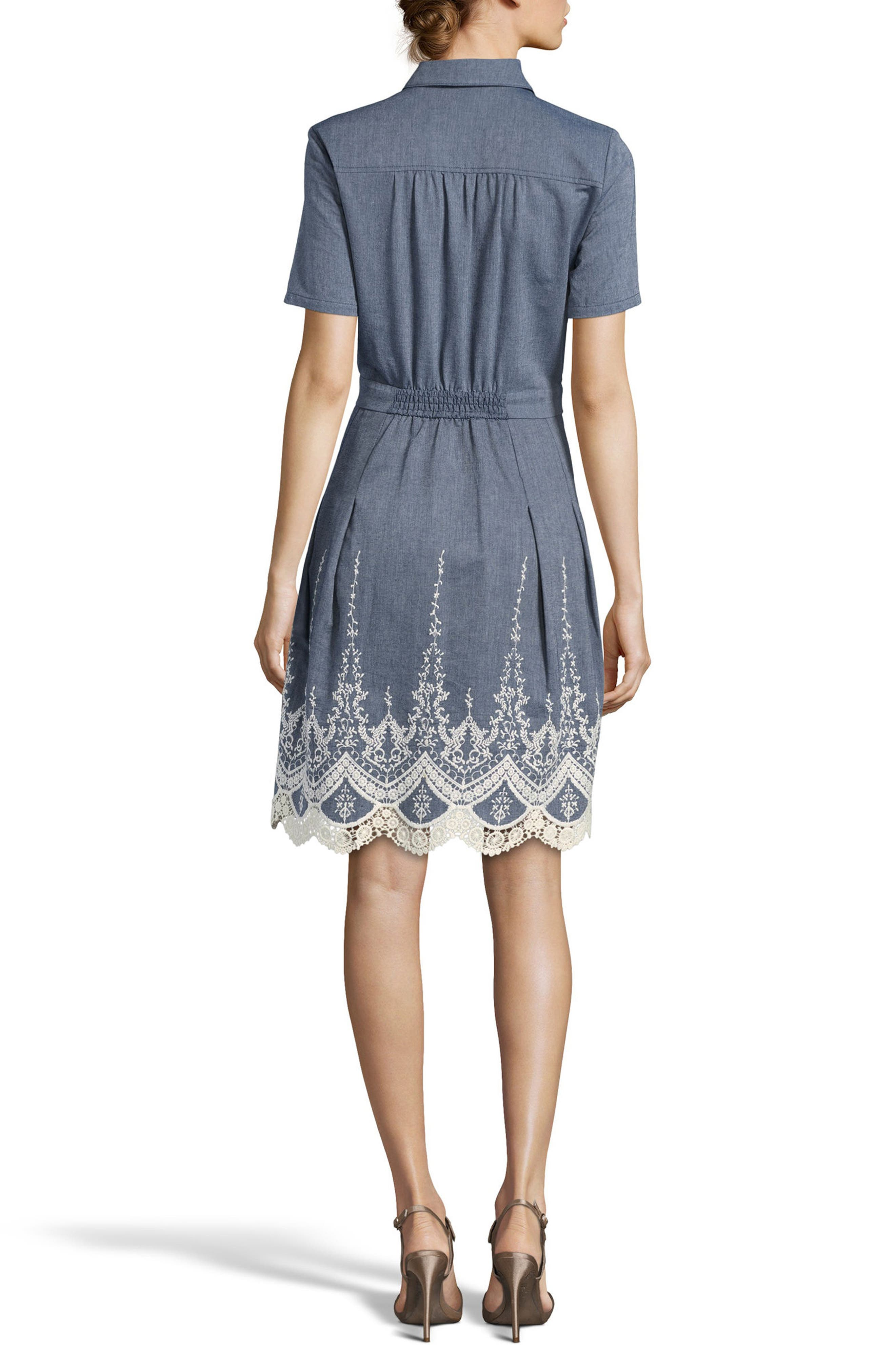 Lace Trim Denim Shirtdress,                             Alternate thumbnail 2, color,                             Blue/ Ivory