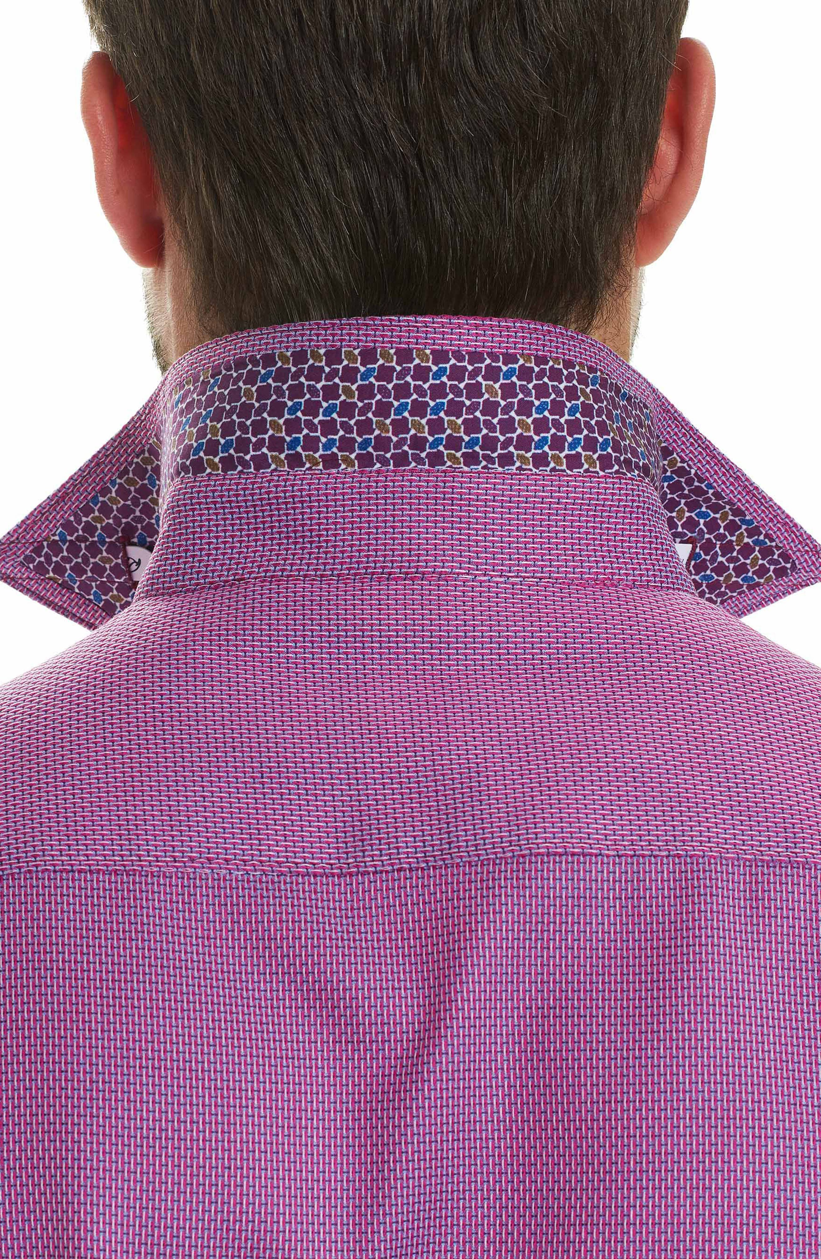 Jobson Regular Fit Sport Shirt,                             Alternate thumbnail 3, color,                             Raspberry