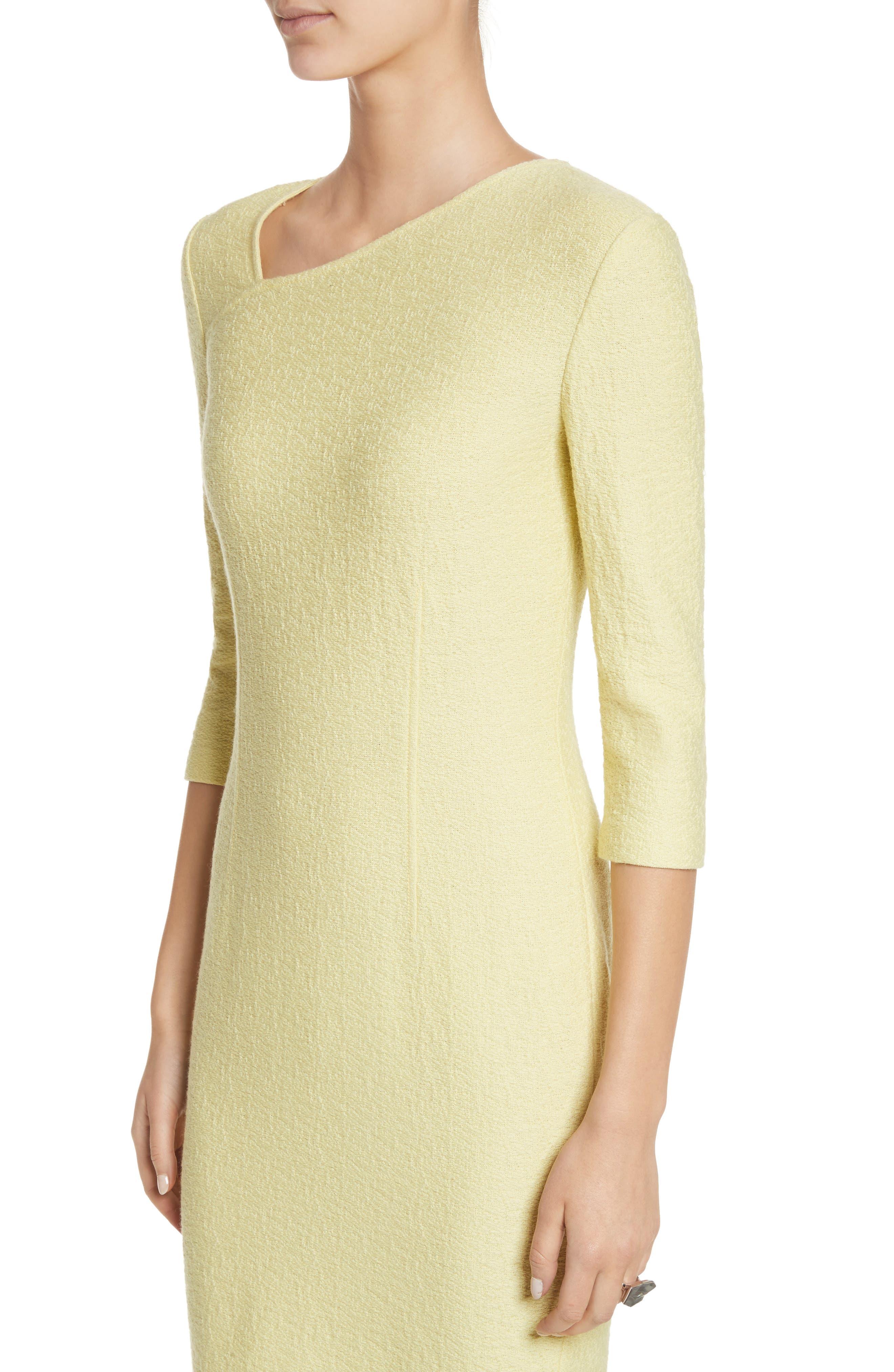 Hannah Knit Asymmetrical Sheath Dress,                             Alternate thumbnail 4, color,                             Citron