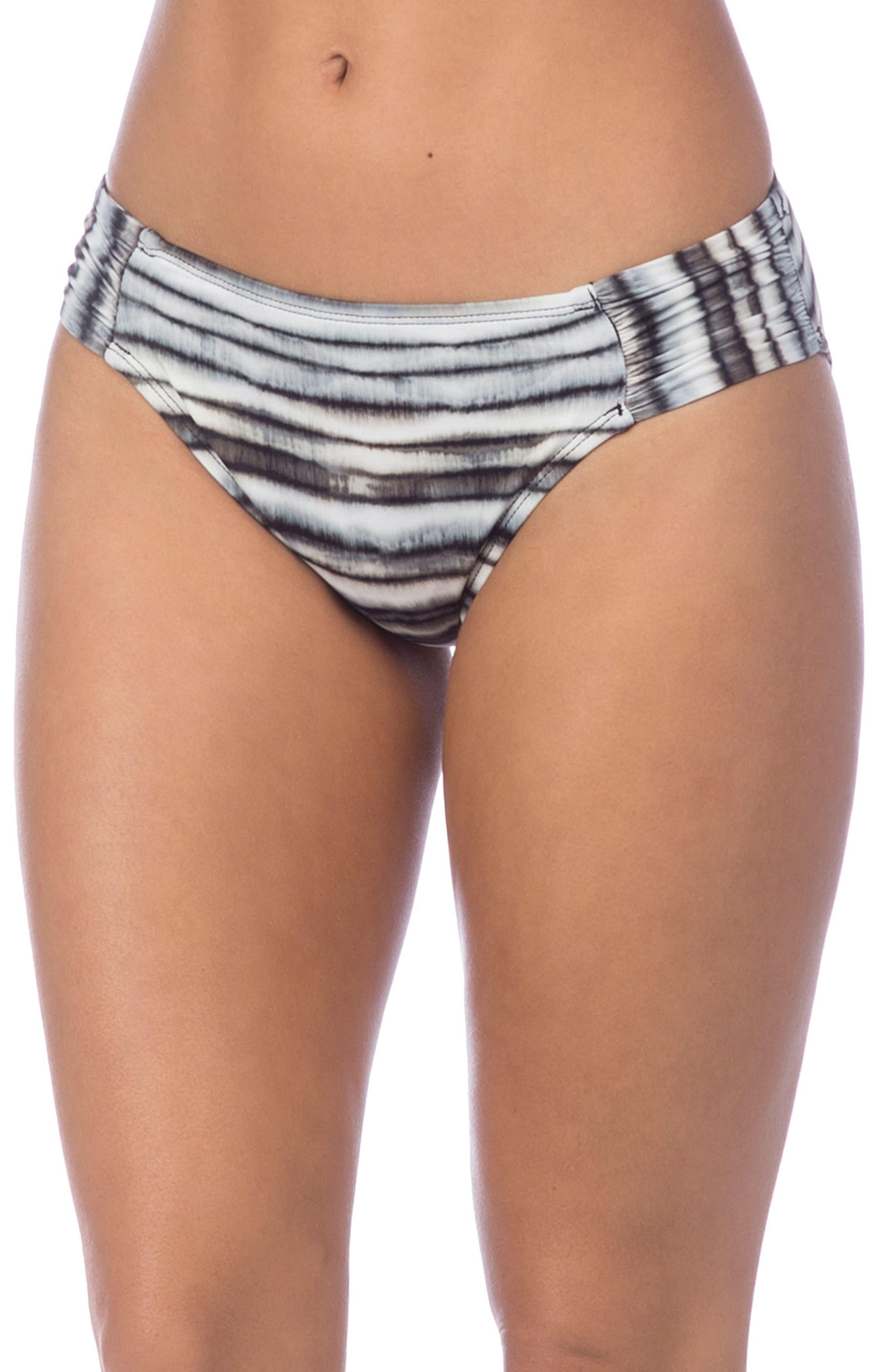 Shirred Hipster Bikini Bottoms,                             Main thumbnail 1, color,                             Pebble