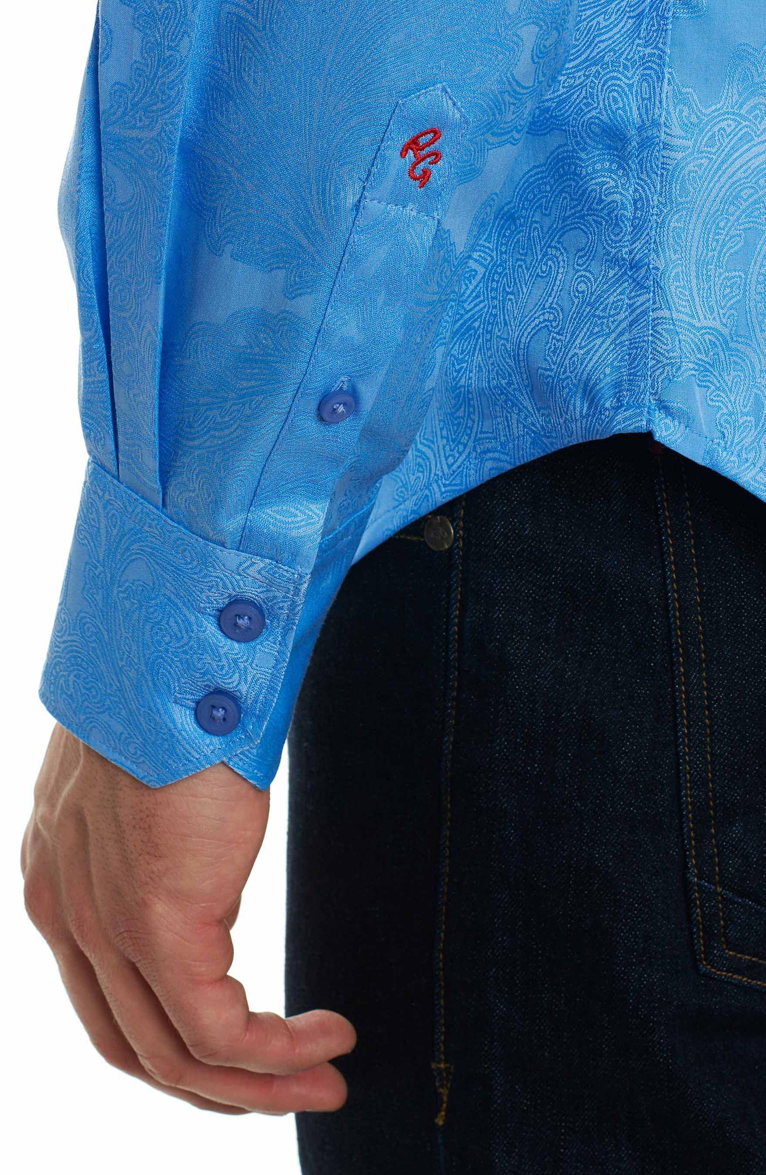 Rosendale Classic Fit Jacquard Sport Shirt,                             Alternate thumbnail 5, color,                             Light Blue