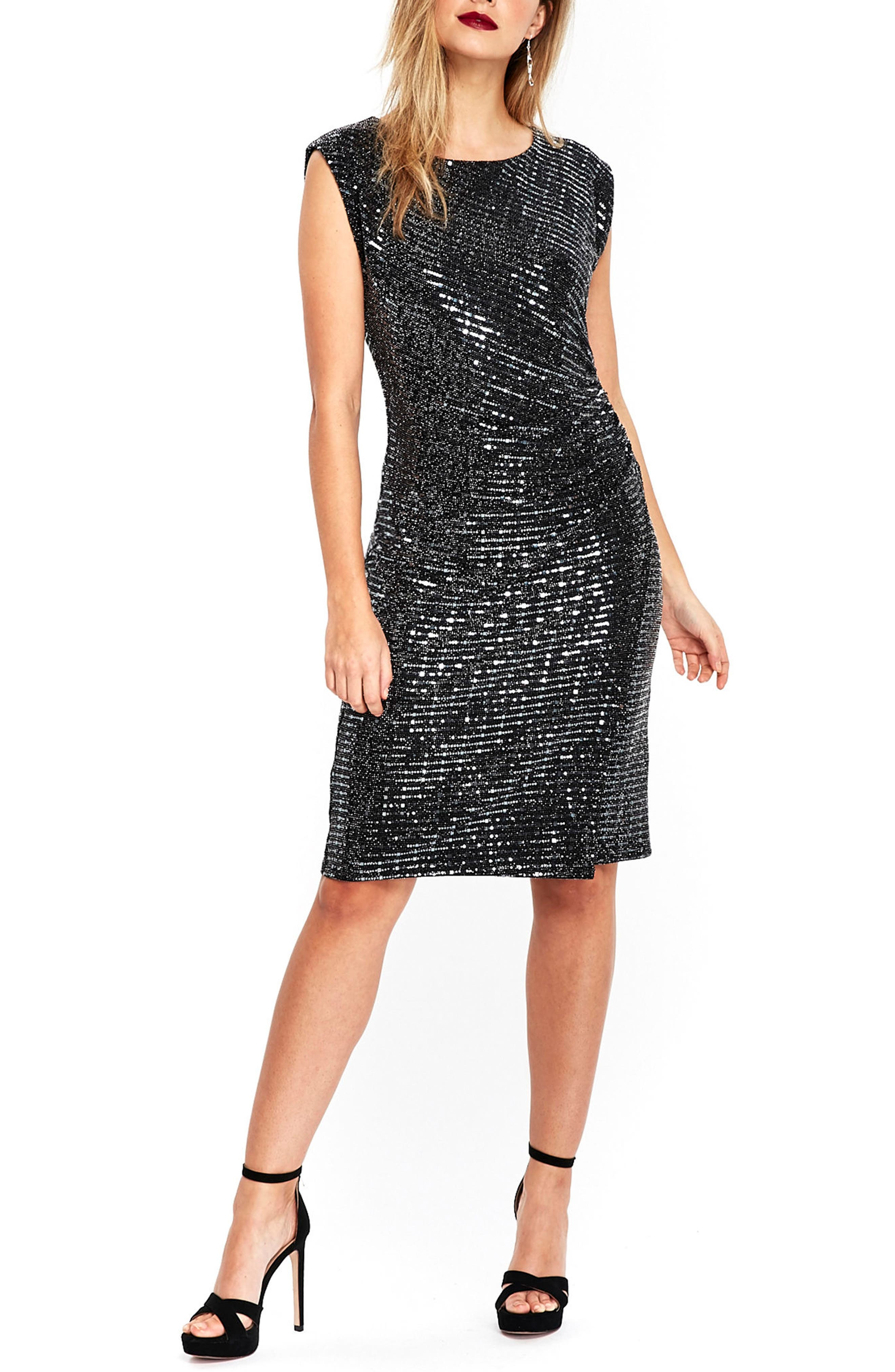 Sequin Side Ruched Dress,                         Main,                         color, Silver