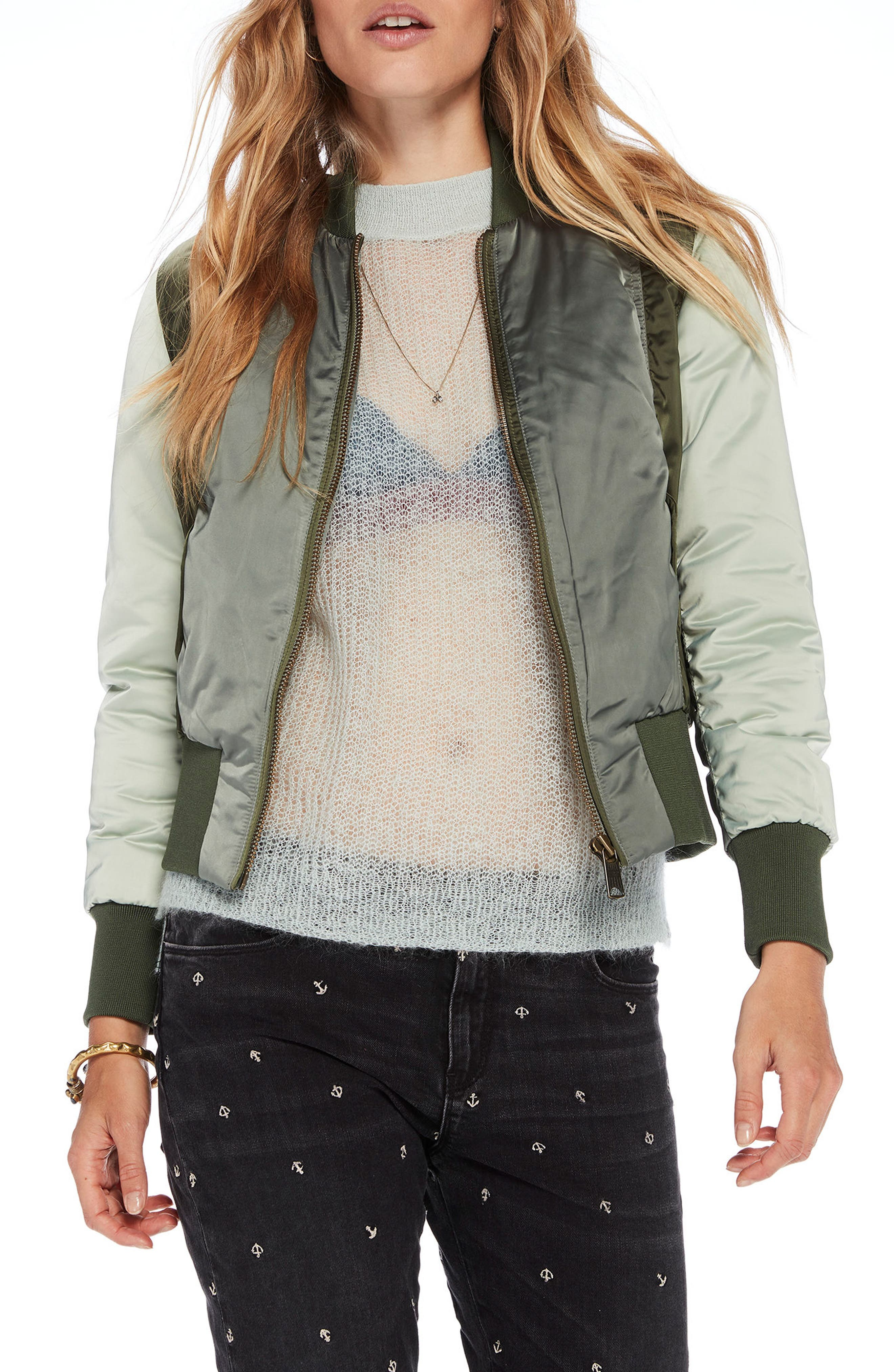 Crop Bomber Jacket,                             Main thumbnail 1, color,                             Army / Off White