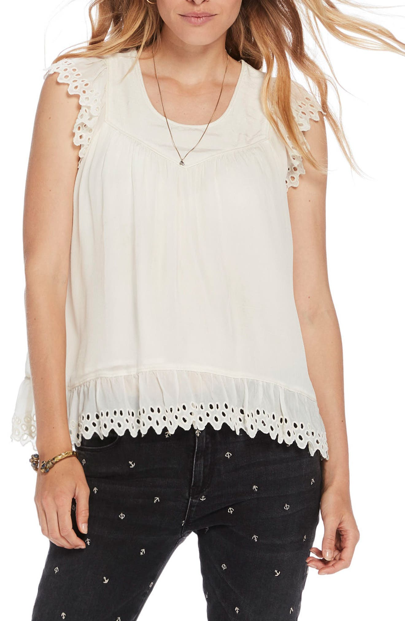 Eyelet Lace Top,                         Main,                         color, Ecru