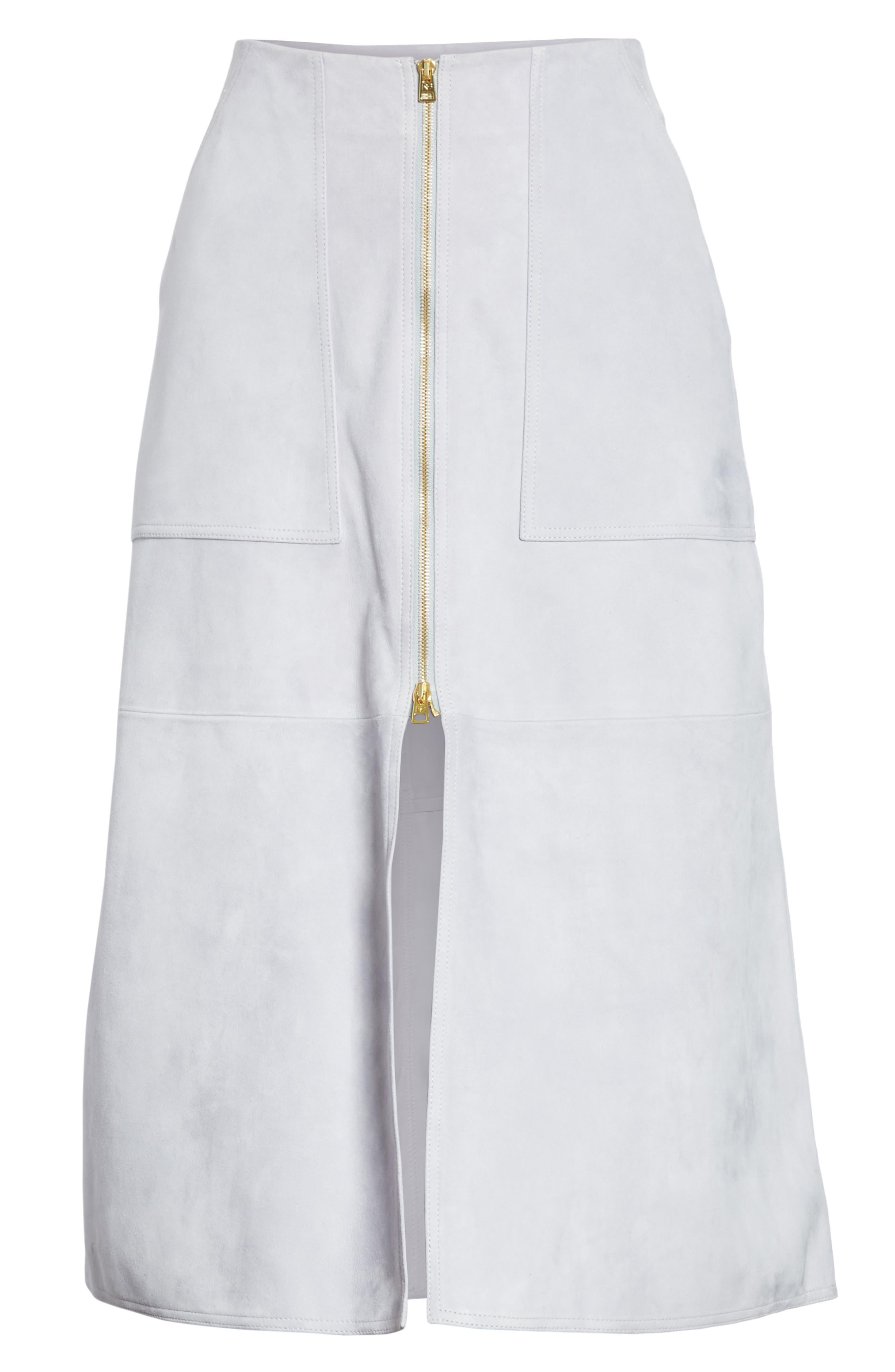 Diane von Furstenberg Patch Pocket Suede Midi Skirt,                             Alternate thumbnail 6, color,                             Smoke