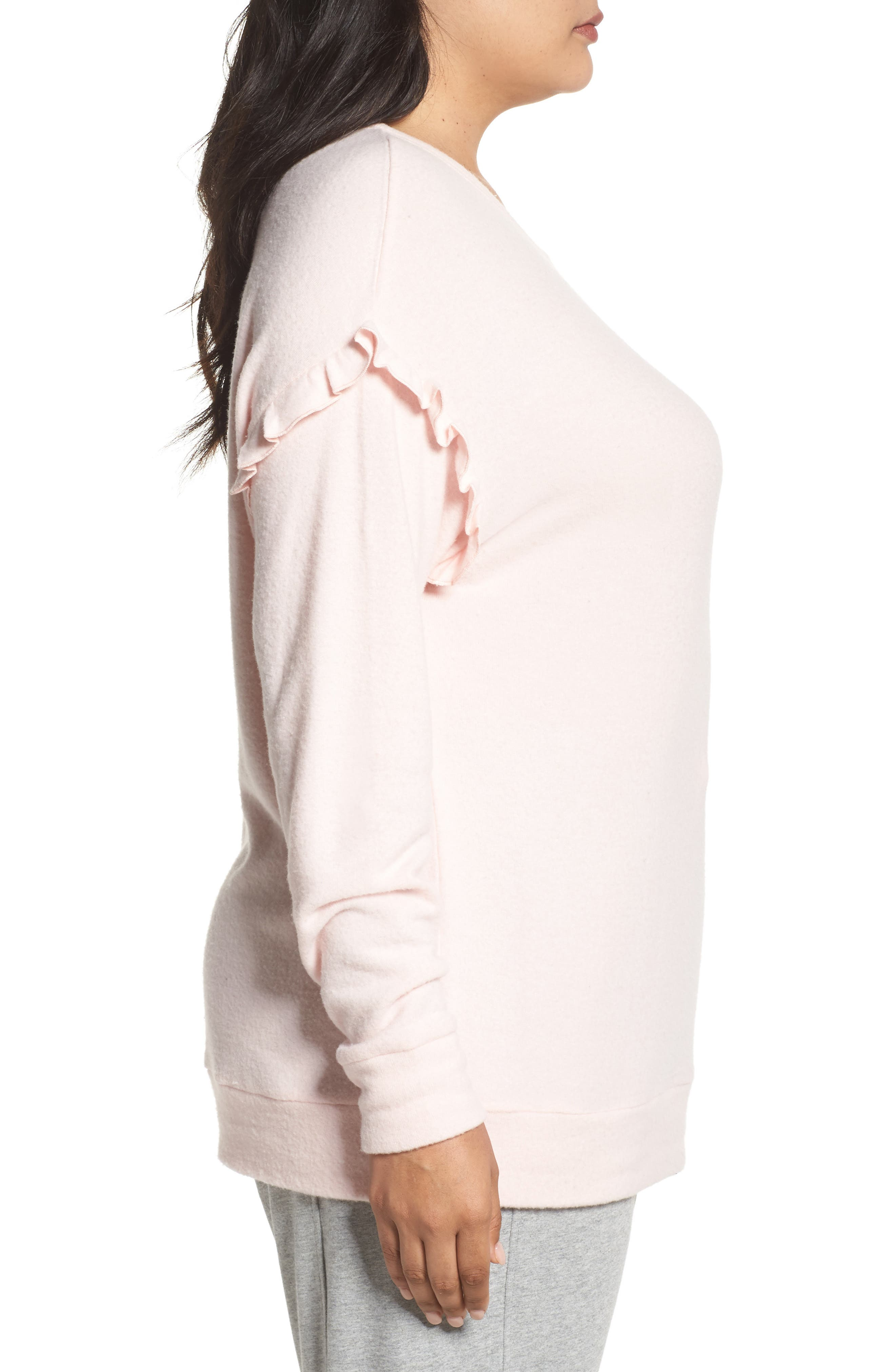 Alternate Image 3  - PJ Salvage Ruffled Peachy Jersey Crewneck Top (Plus Size)