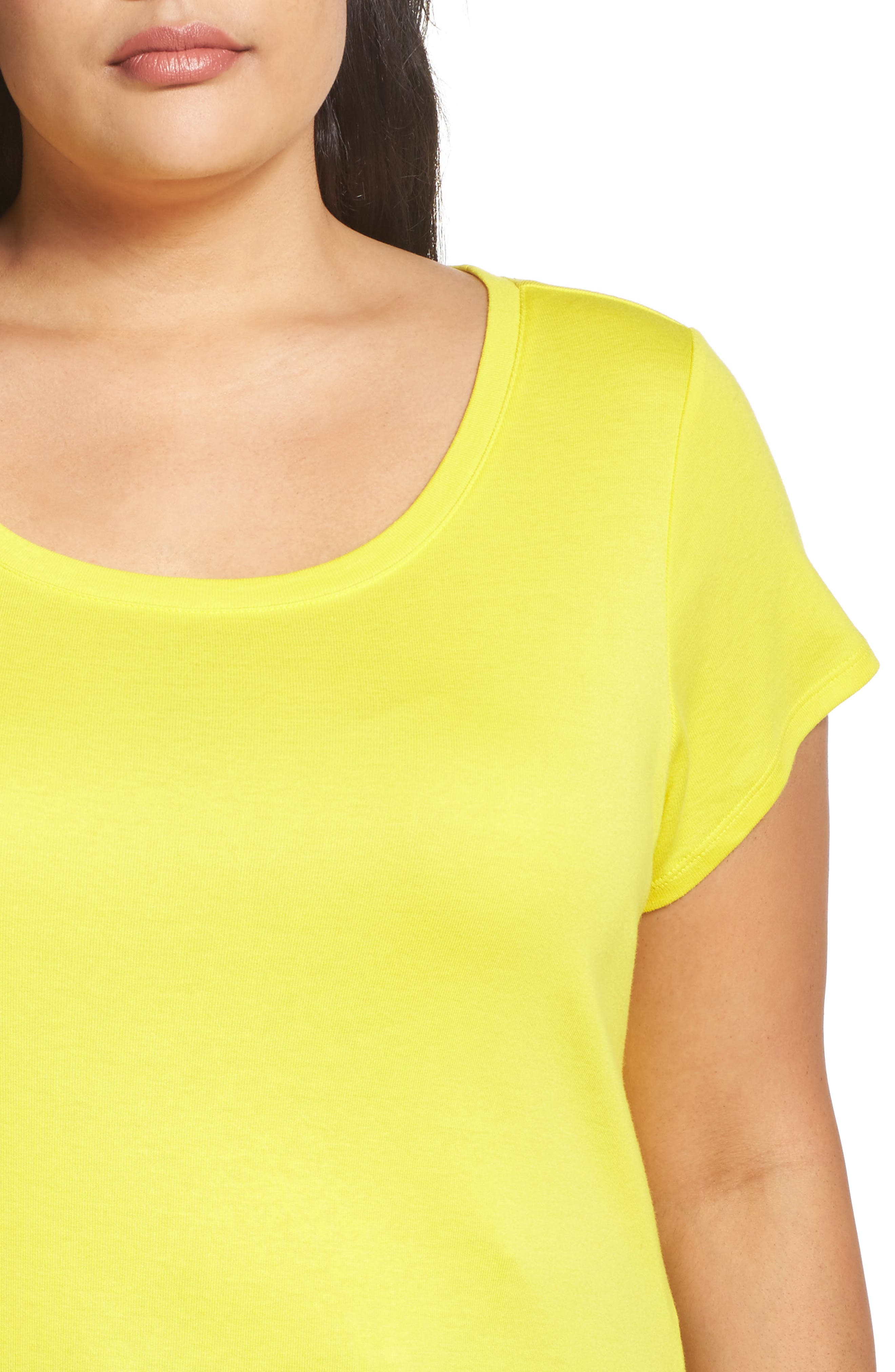 Cap Sleeve Ribbed Tee,                             Alternate thumbnail 4, color,                             Yellow Vibrant