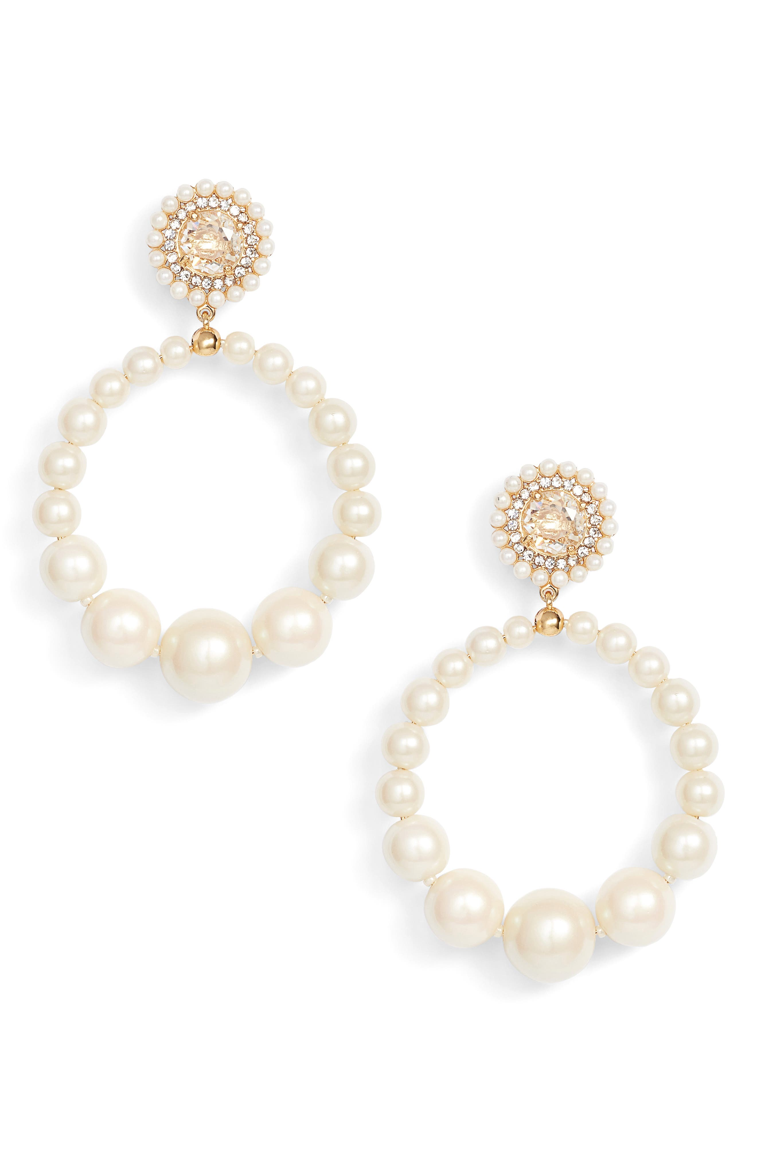 Main Image - kate spade new york imitation pearl frontal hoop earrings