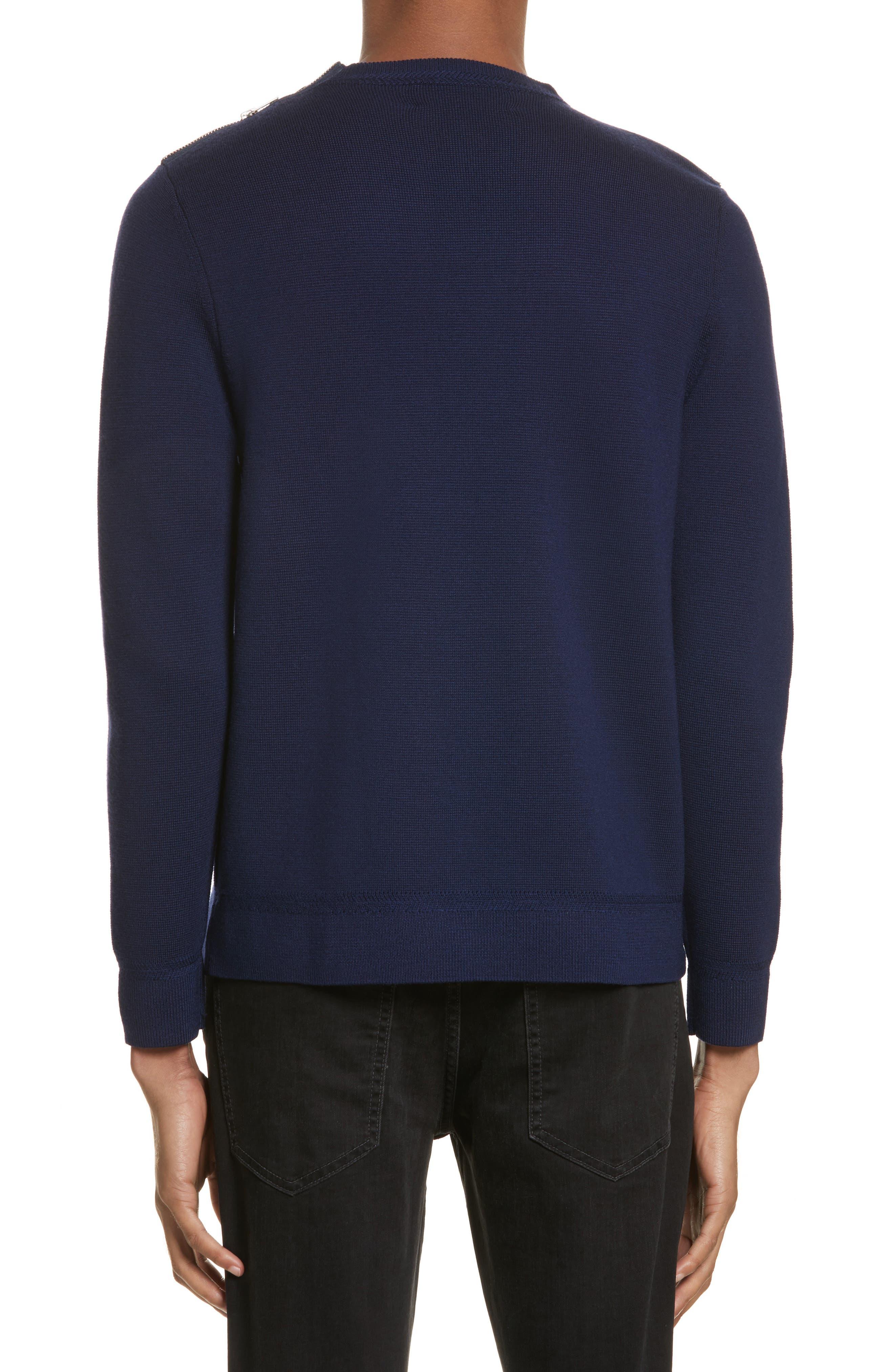 Merino Wool Blend Sweater with Shoulder Zip Trim,                             Alternate thumbnail 2, color,                             Navy