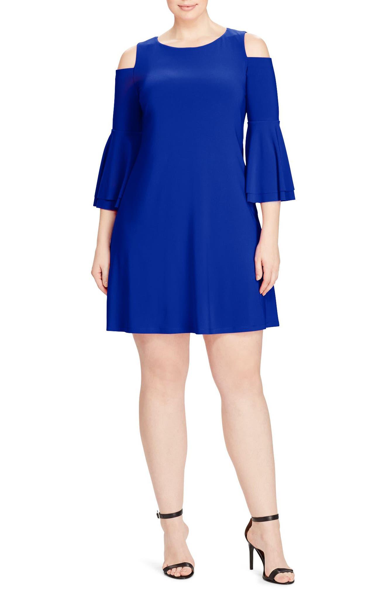 Cold Shoulder Bell Sleeve Jersey Dress,                         Main,                         color, Cannes Blue