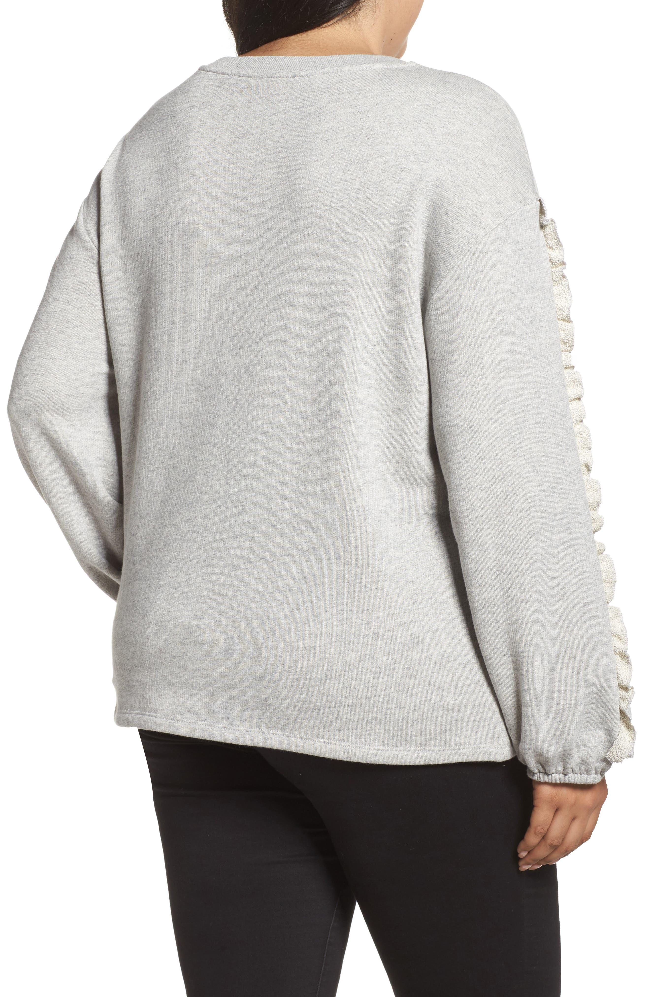Ruffle Sleeve Sweatshirt,                             Alternate thumbnail 2, color,                             Grey Heather
