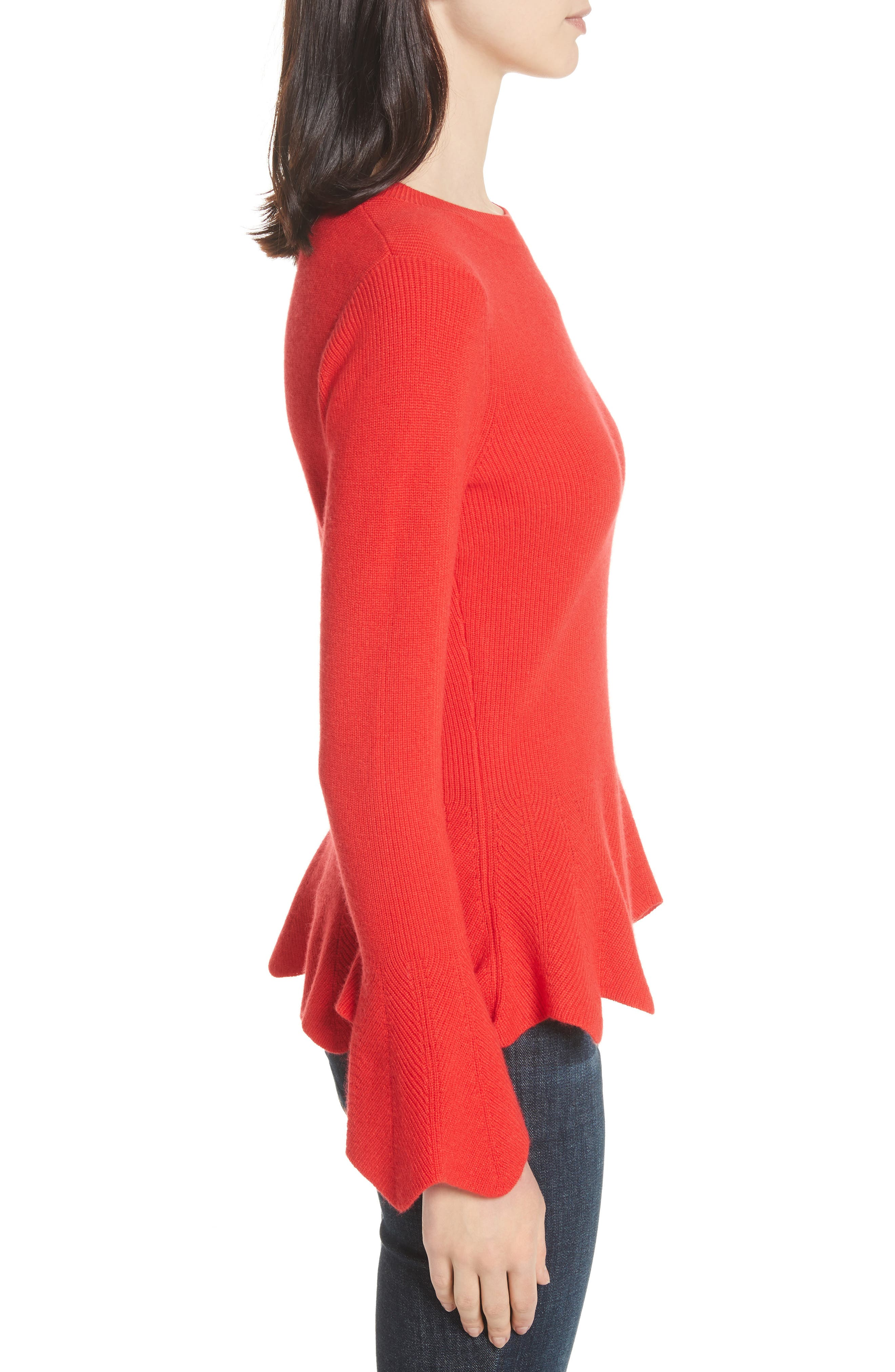 Peplum Sweater,                             Alternate thumbnail 3, color,                             Bright Red