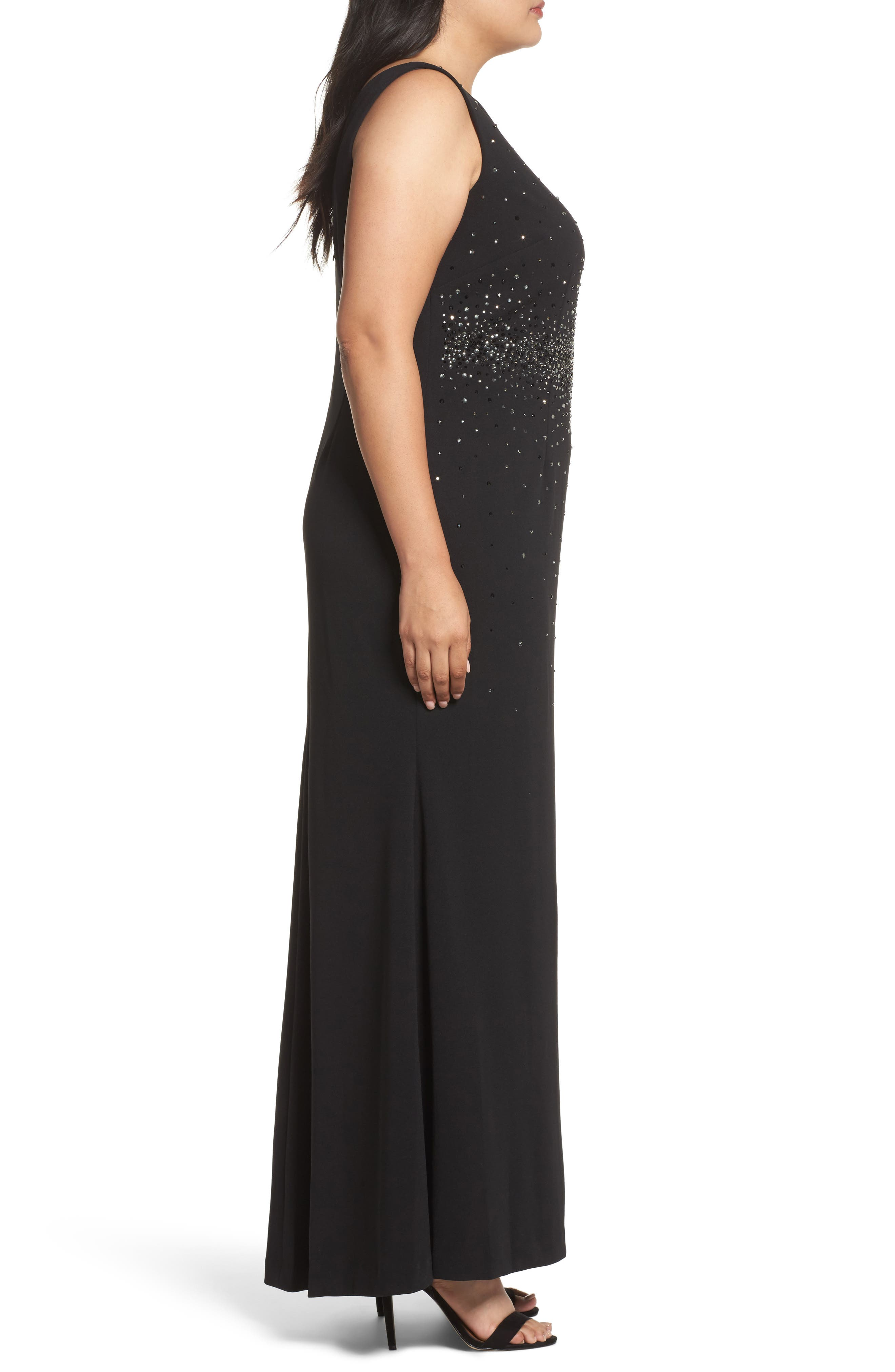 Alternate Image 3  - Eliza J Embellished A-Line Gown (Plus Size)